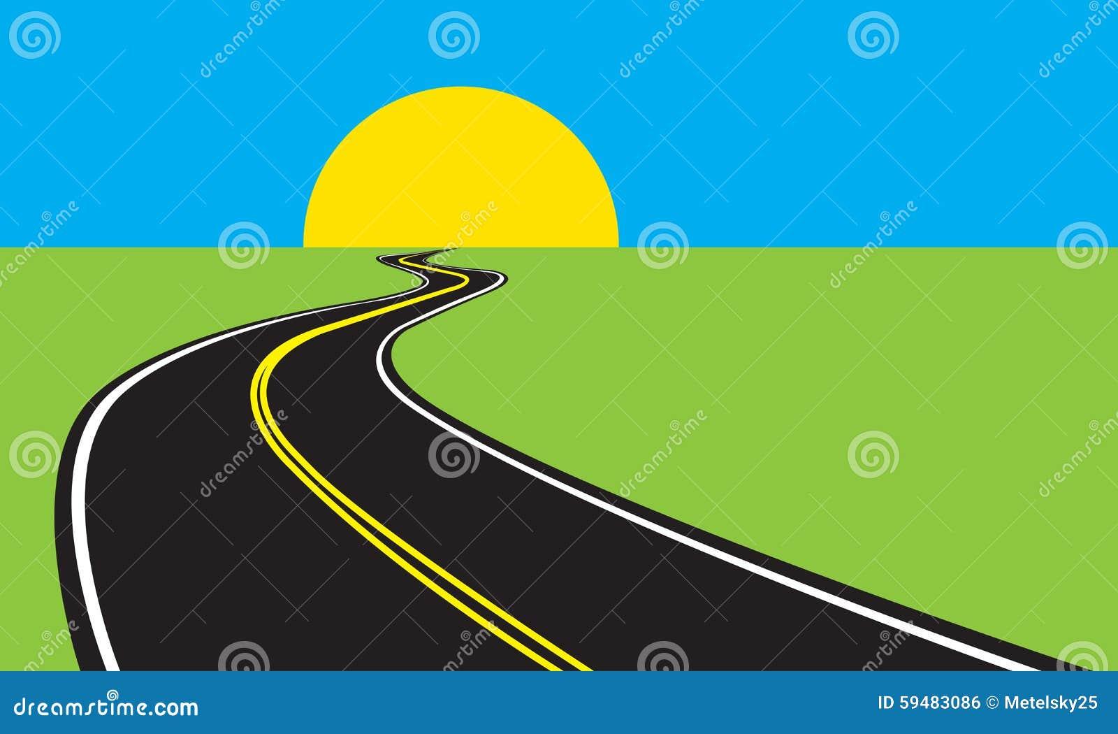 Asphalt Winding Road And Green Landscape Vector