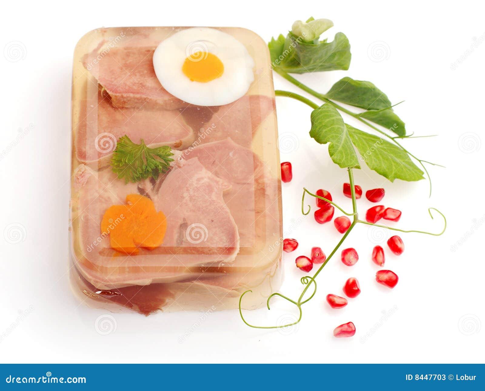 Aspic van vlees dat met ei wortel wordt verfraaid stock foto 39 s afbeelding 8447703 - Ontwerp voorgerecht ...