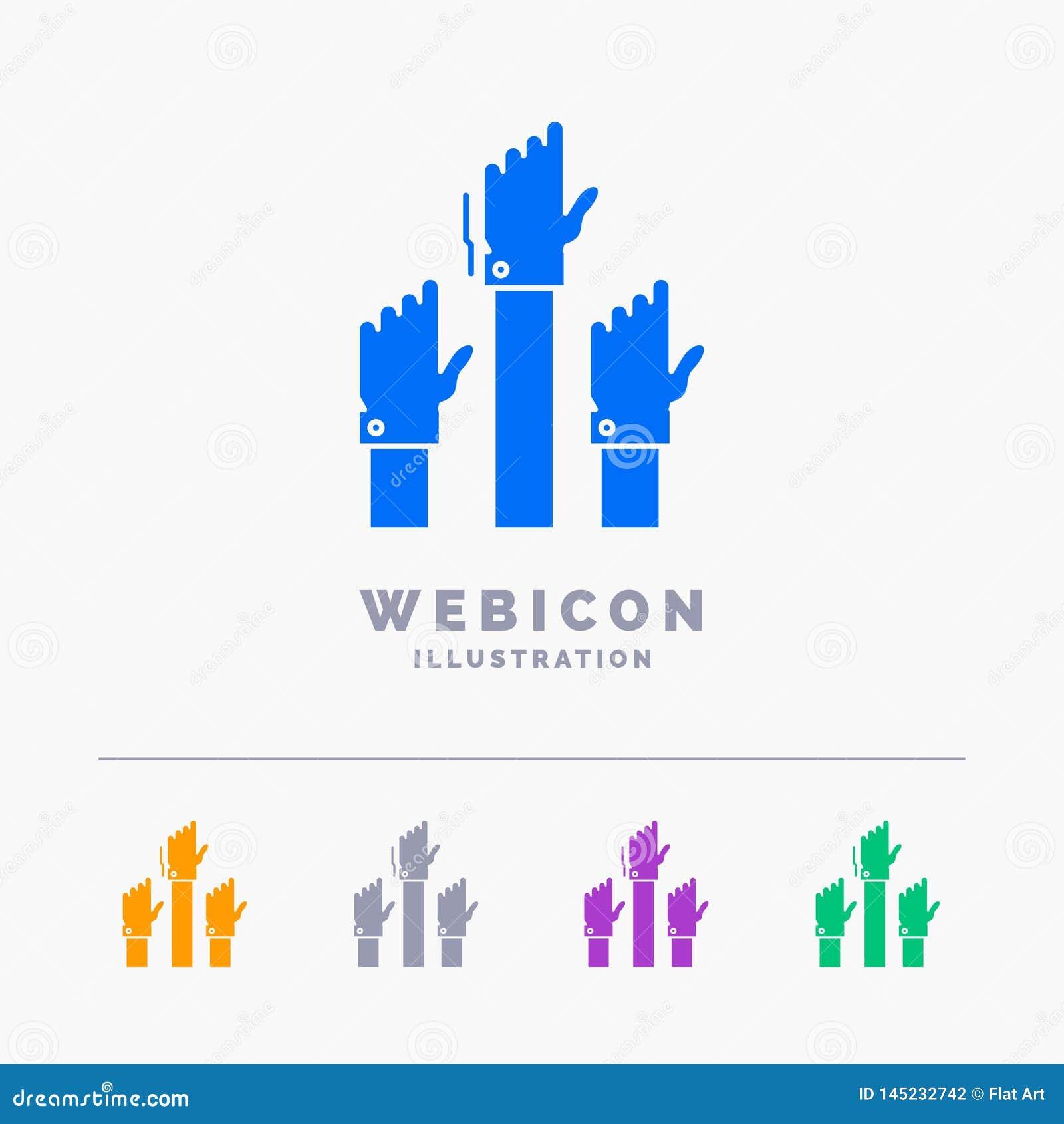Aspiration, Geschäft, Wunsch, Angestellter, Absicht 5 Farbeglyph-Netz-Ikonen-Schablone lokalisiert auf Weiß Auch im corel abgehob
