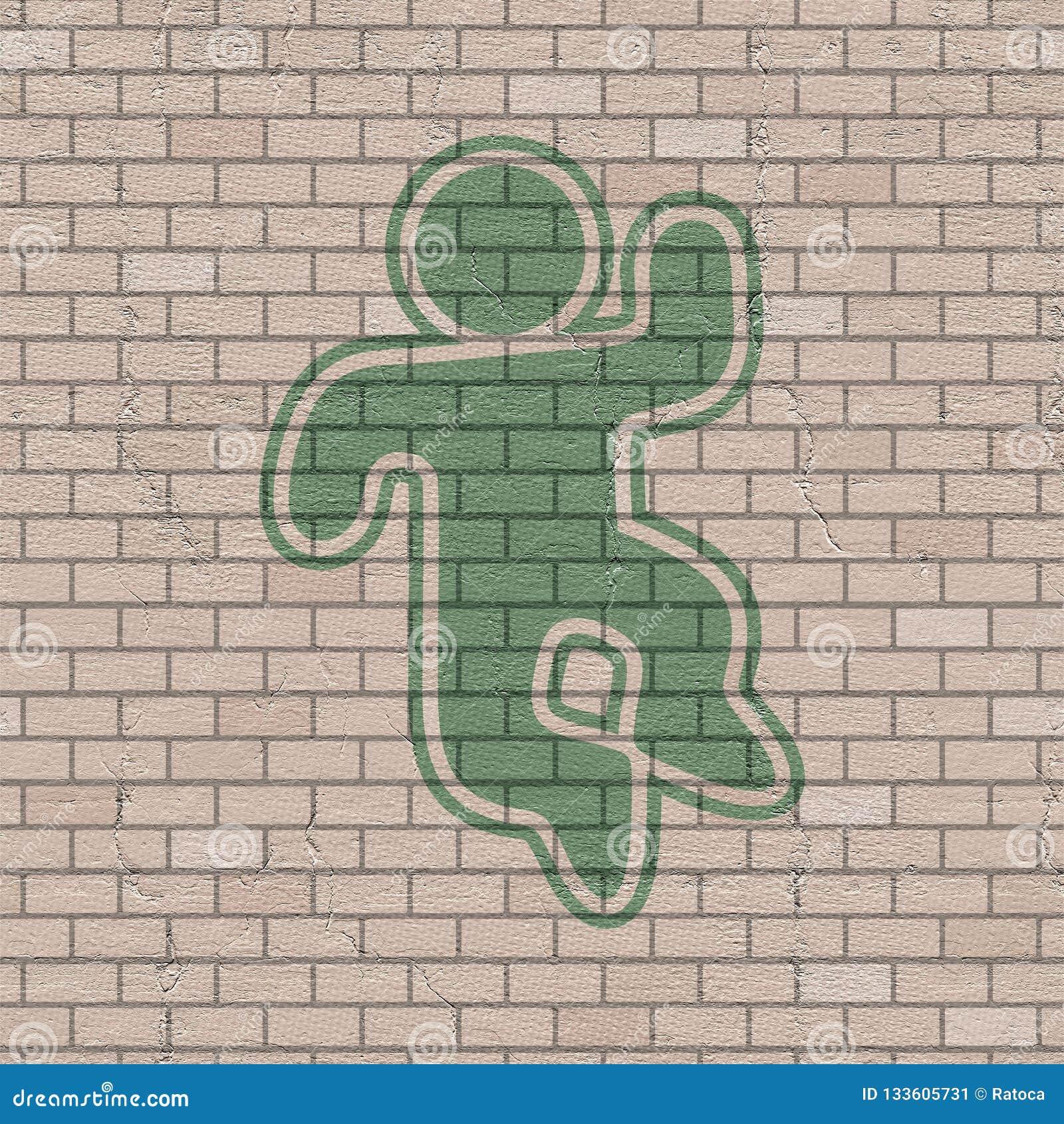 Aspiration heureuse de marionnette dans le mur de briques