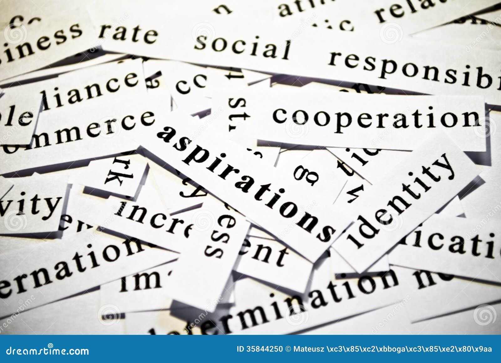 Aspirations. Concept des mots de coupe-circuit connexes avec des affaires.