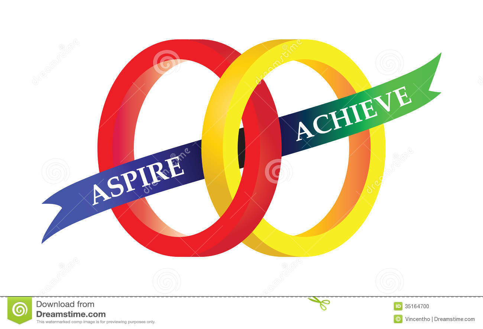 Aspire Achieve Motto Sports Symbol Illustration Stock
