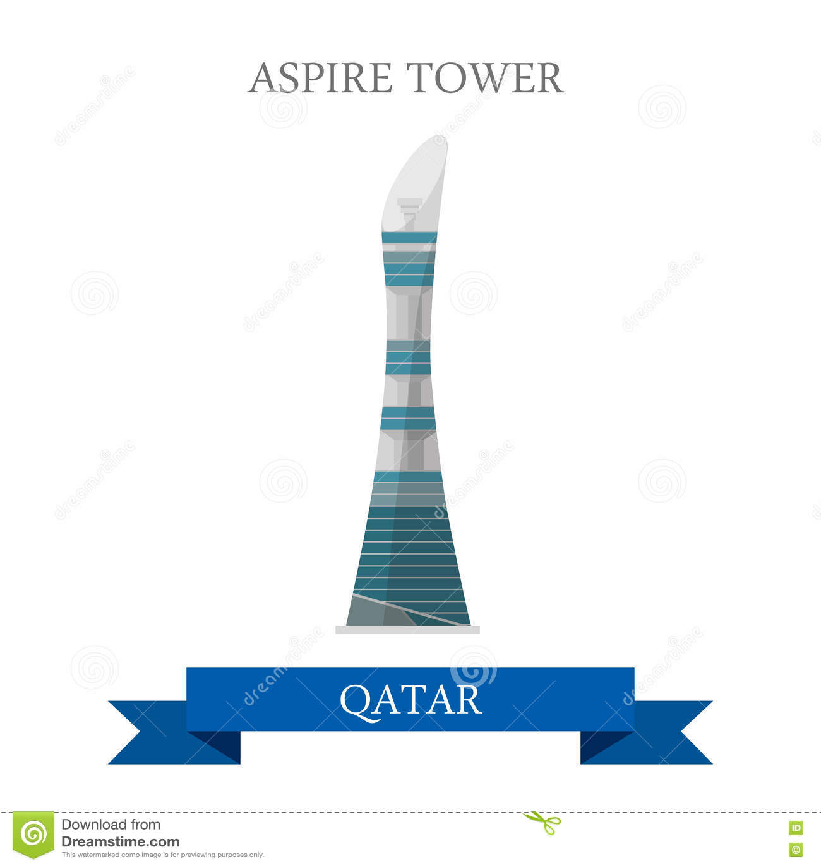 Aspire Tower Qatar vector flat attraction travel landmark