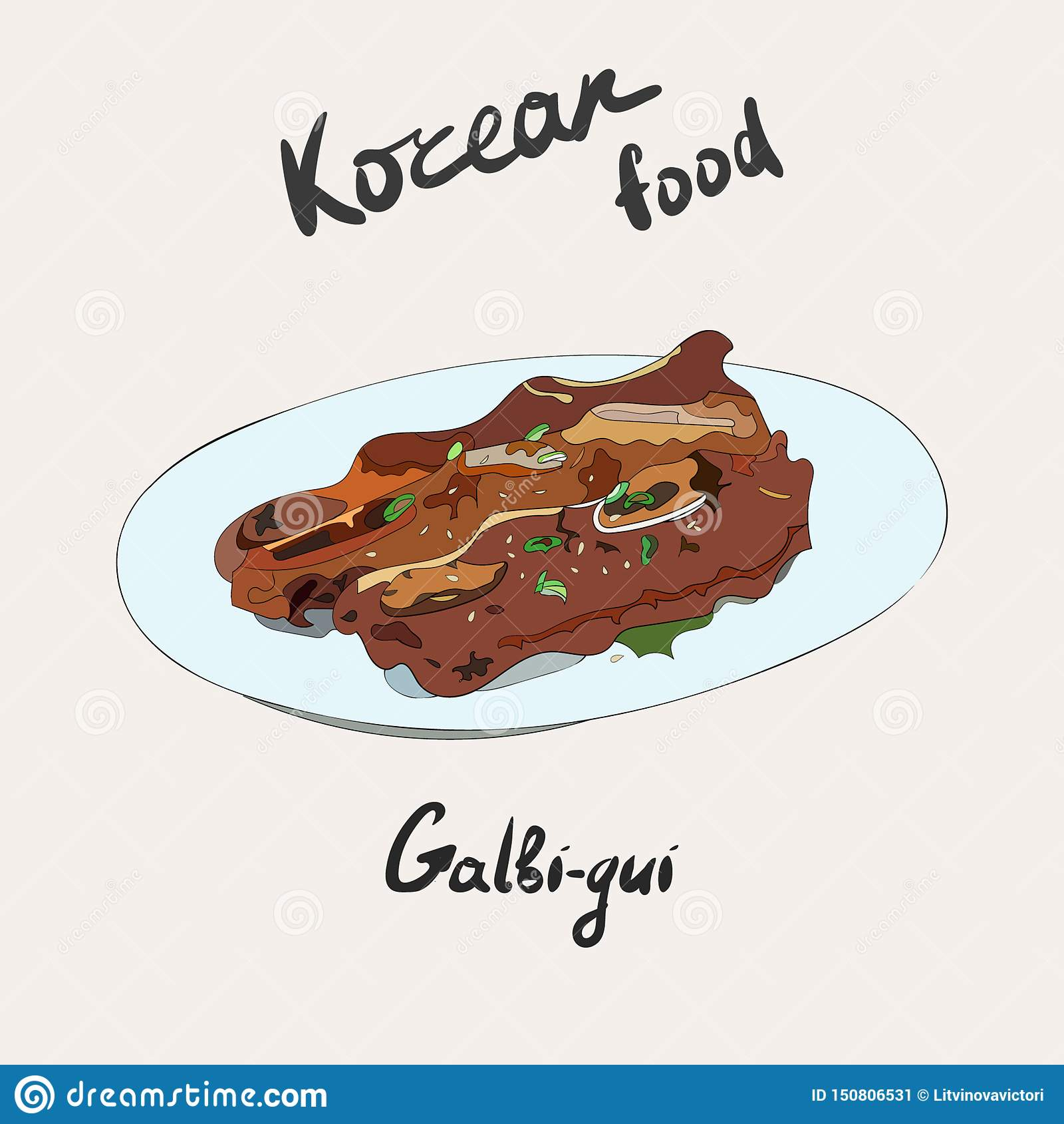 Assado coreano, galbi, galbi-GUI, ou reforços grelhados Prato lateral coreano tradicional