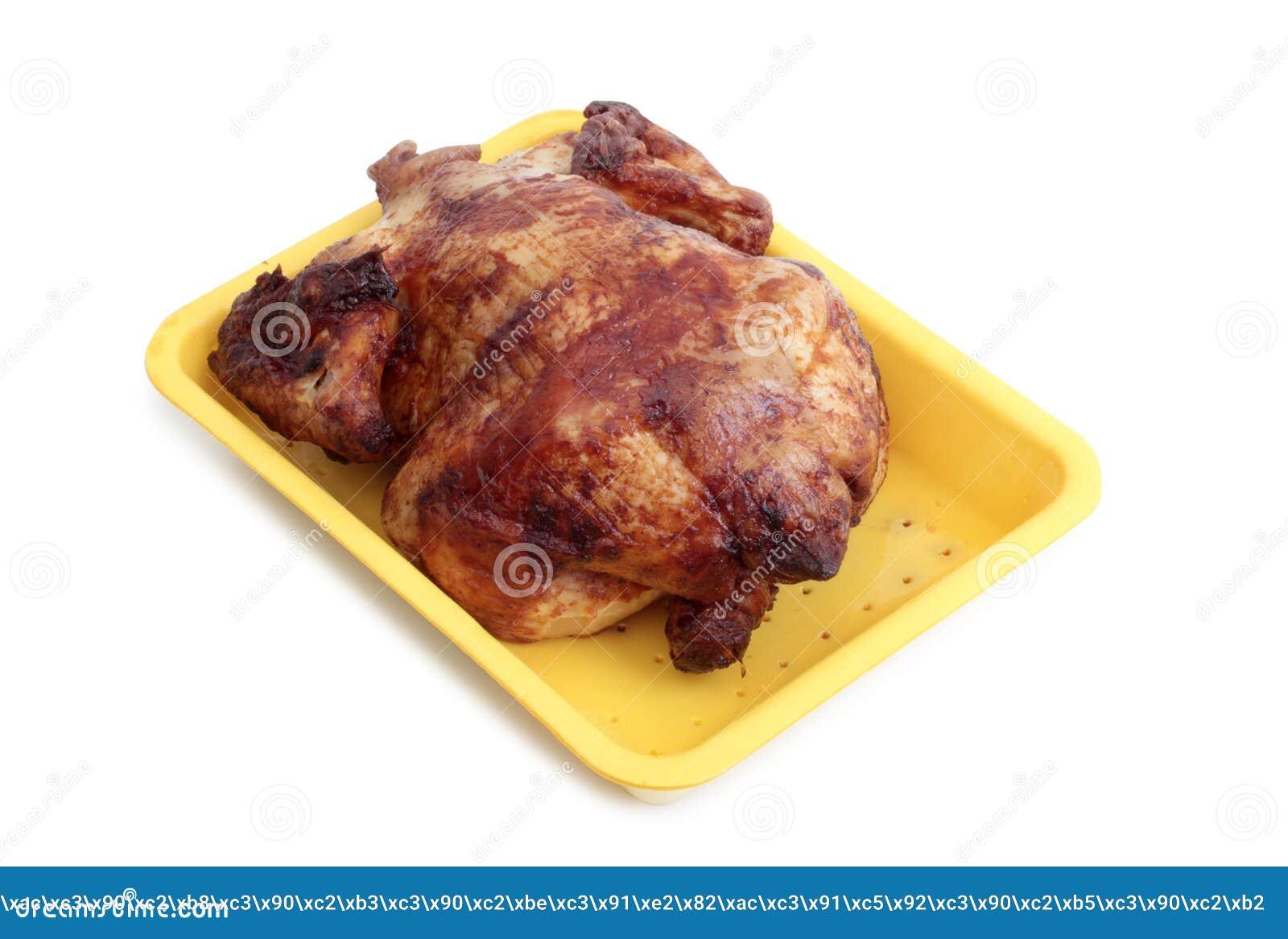 Assado da galinha no branco
