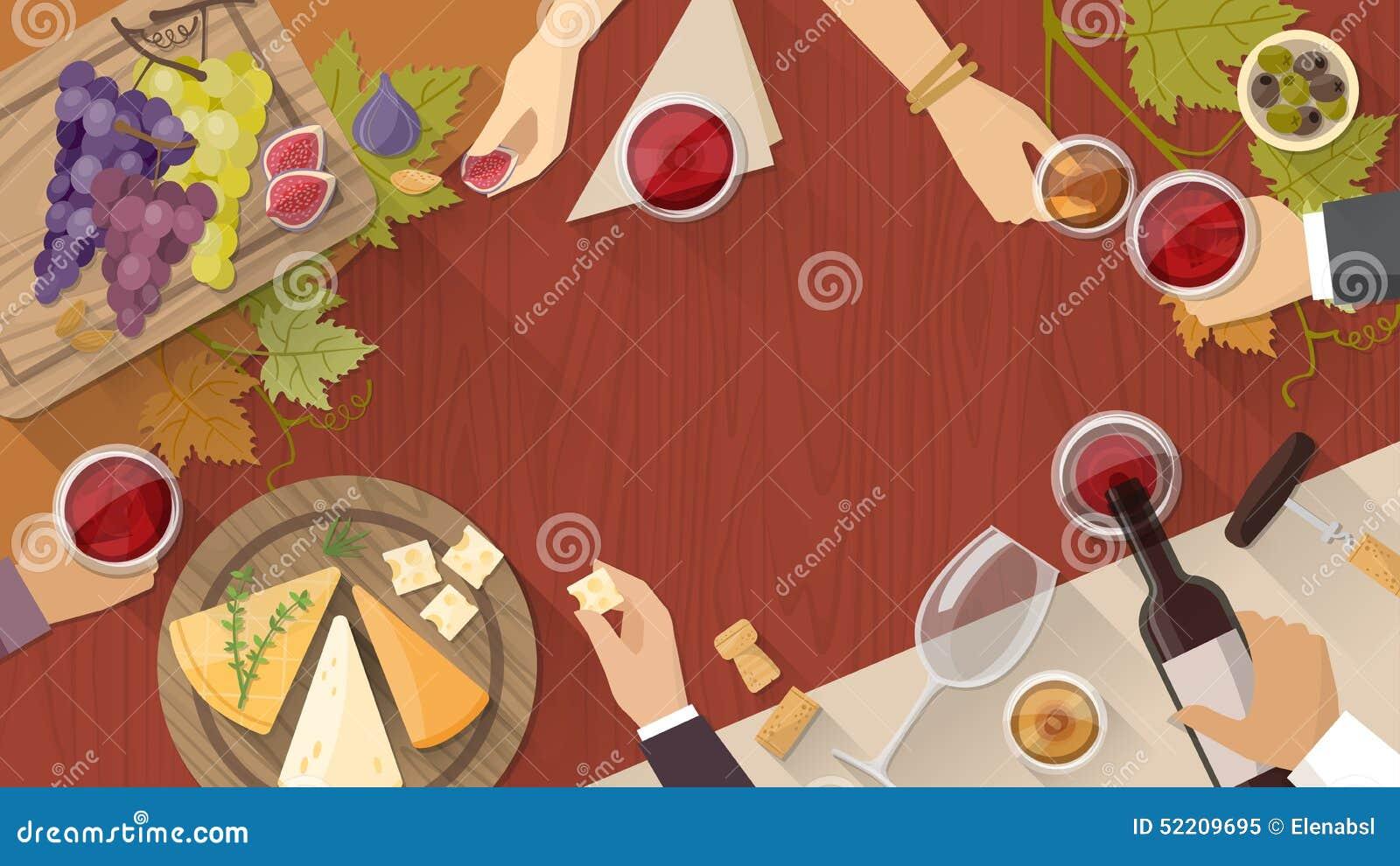 Assaggio del formaggio e del vino