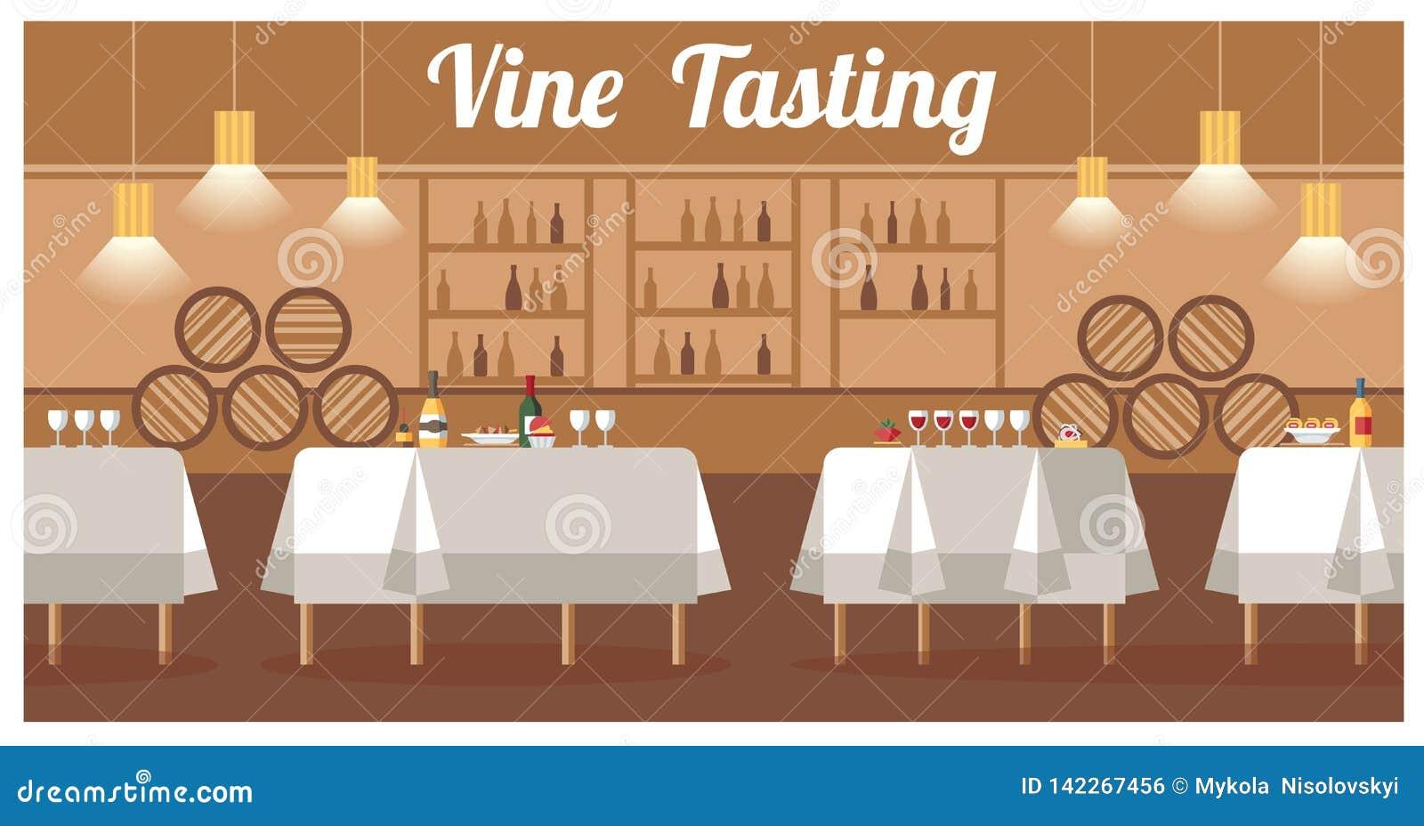 Assaggio di vino nell insegna piana di vettore della cantina di lusso