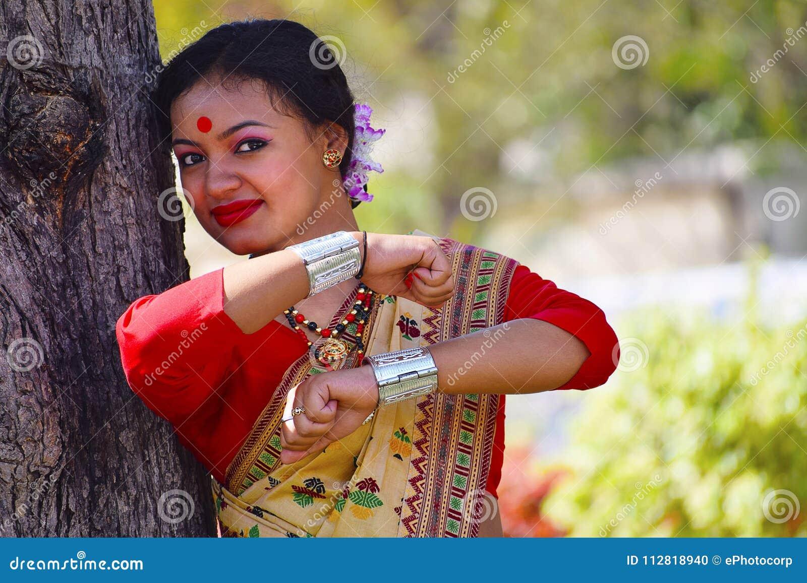 Assamese girl In traditional attire posing. Bihu Dance, Pune, Maharashtra