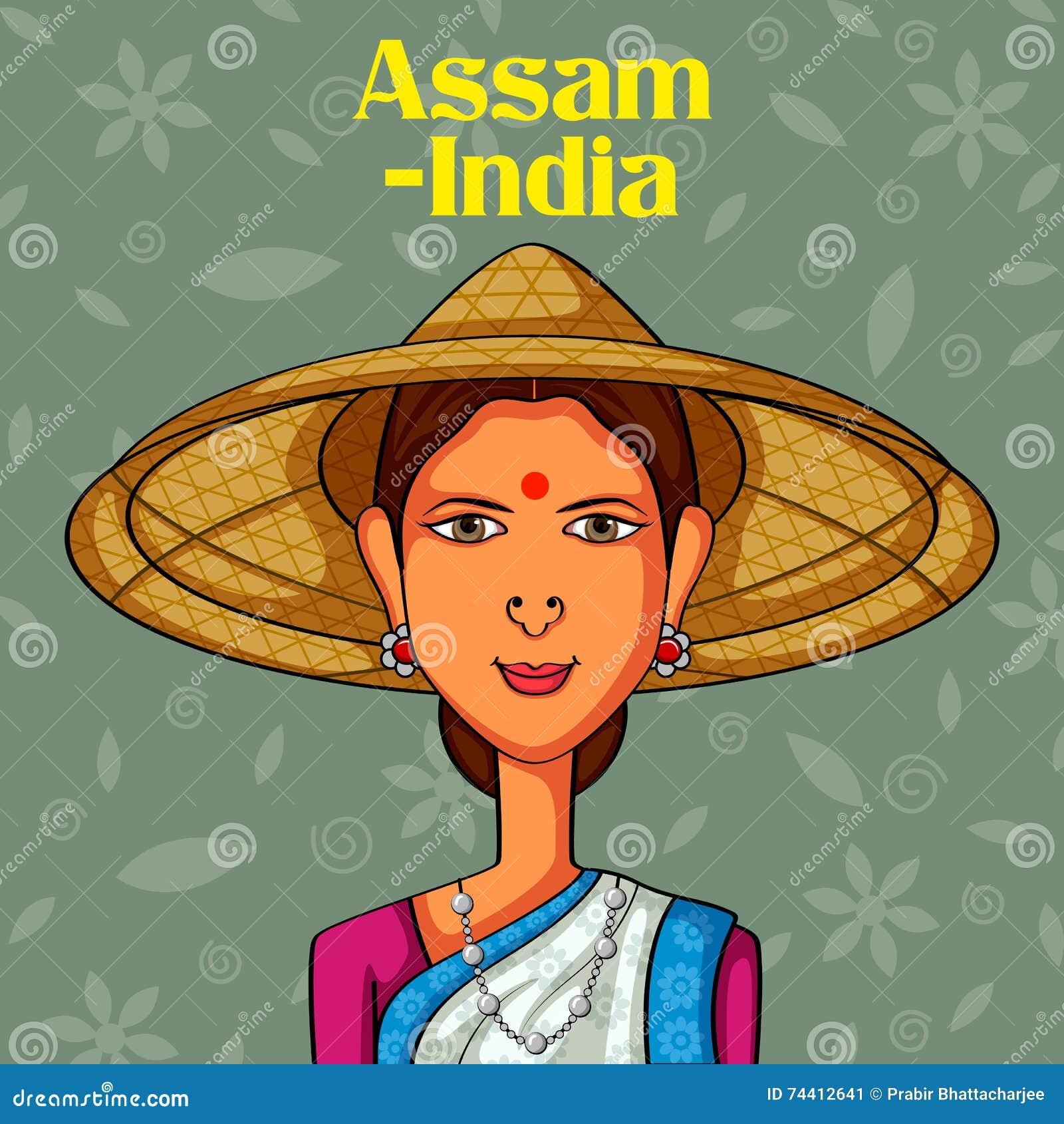 Assamesekvinna i traditionell dräkt av Assam, Indien