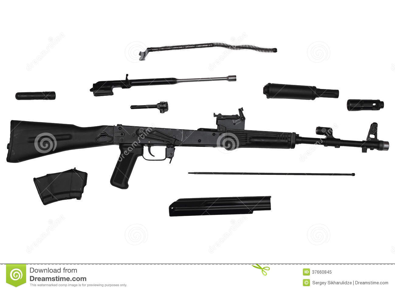 Assault Rifle Disassembled Into Parts Left Side View Isolated On