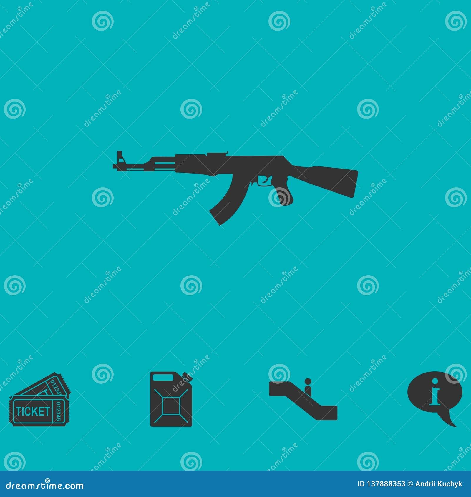 Assault rifle icon flat