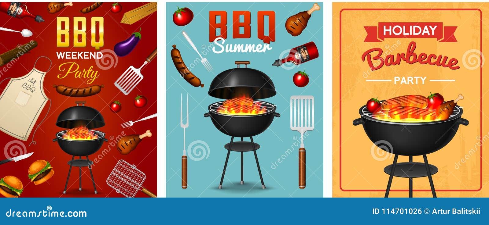 Asse o grupo de elementos da grade isolado no fundo vermelho Cartaz do partido do BBQ Adultos novos Restaurante da carne em casa