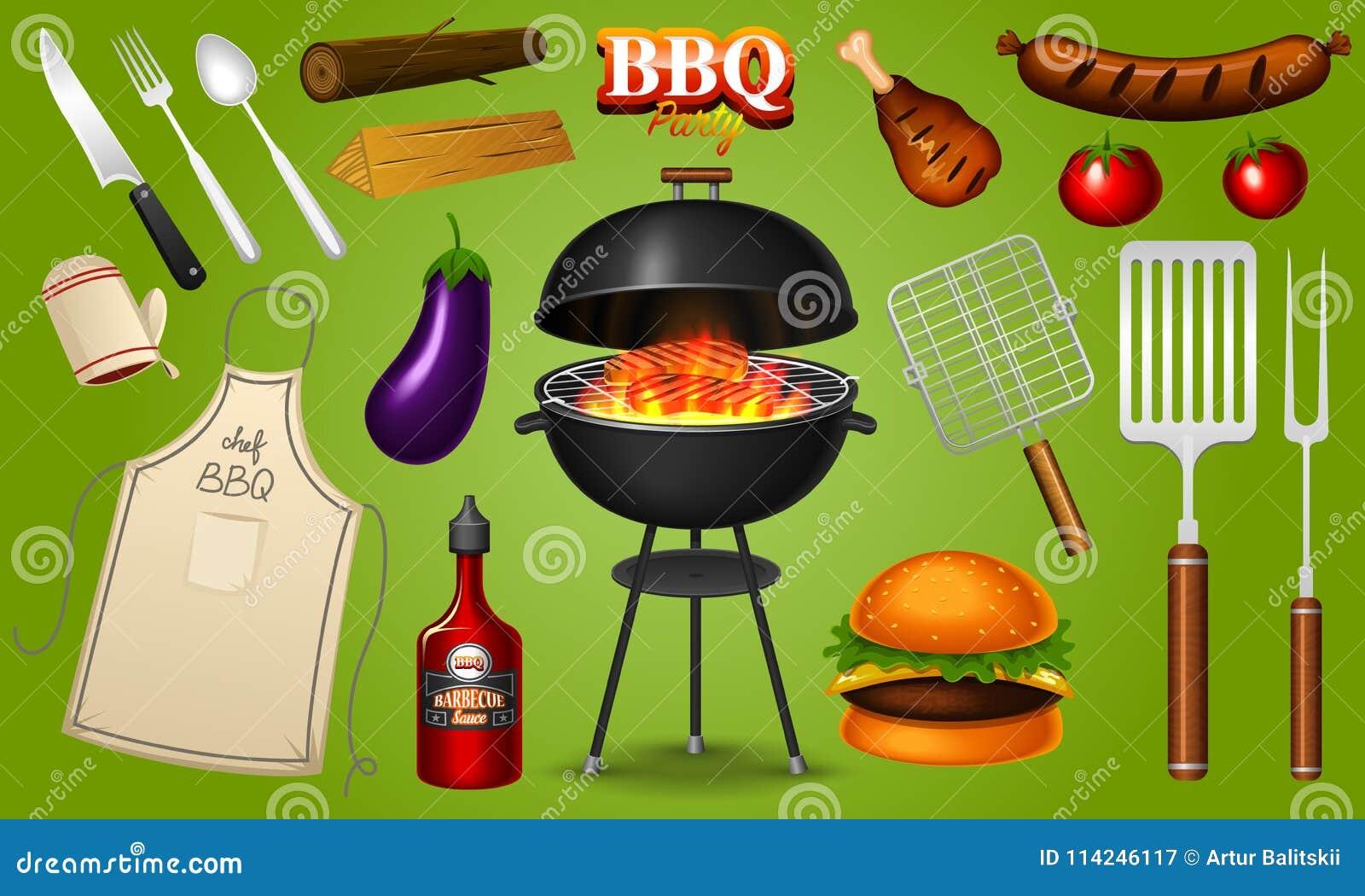 Asse o grupo de elementos da grade isolado no fundo vermelho Partido do BBQ Adultos novos Restaurante da carne em casa Chaleira d