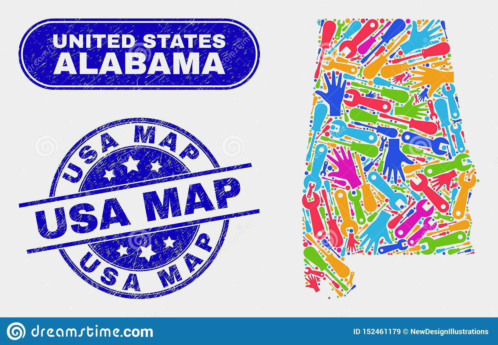 Assembly Alabama State Map And Distress USA Map Stamps Stock ...