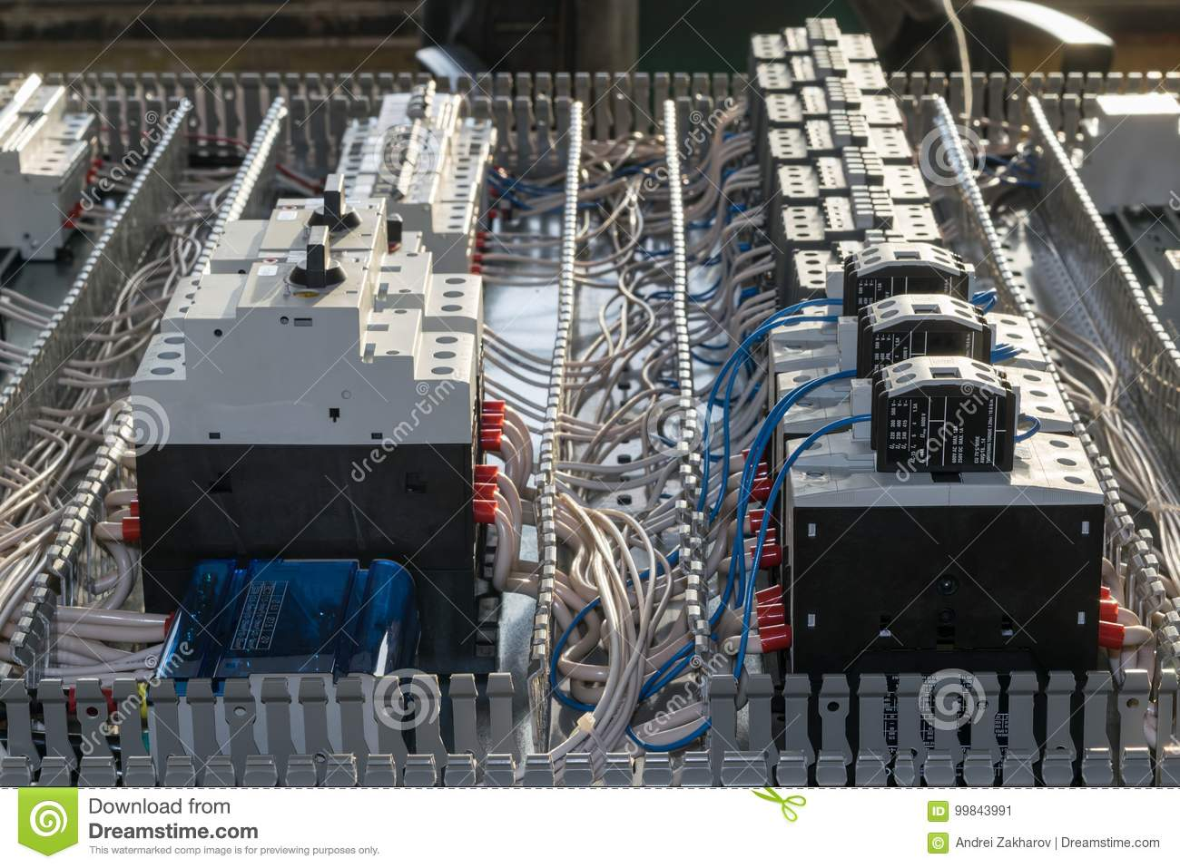 Assembly Electrical Cabinet Mounting Panel Circuit Breakers And Breaker Installation Download Contactors Stock Image