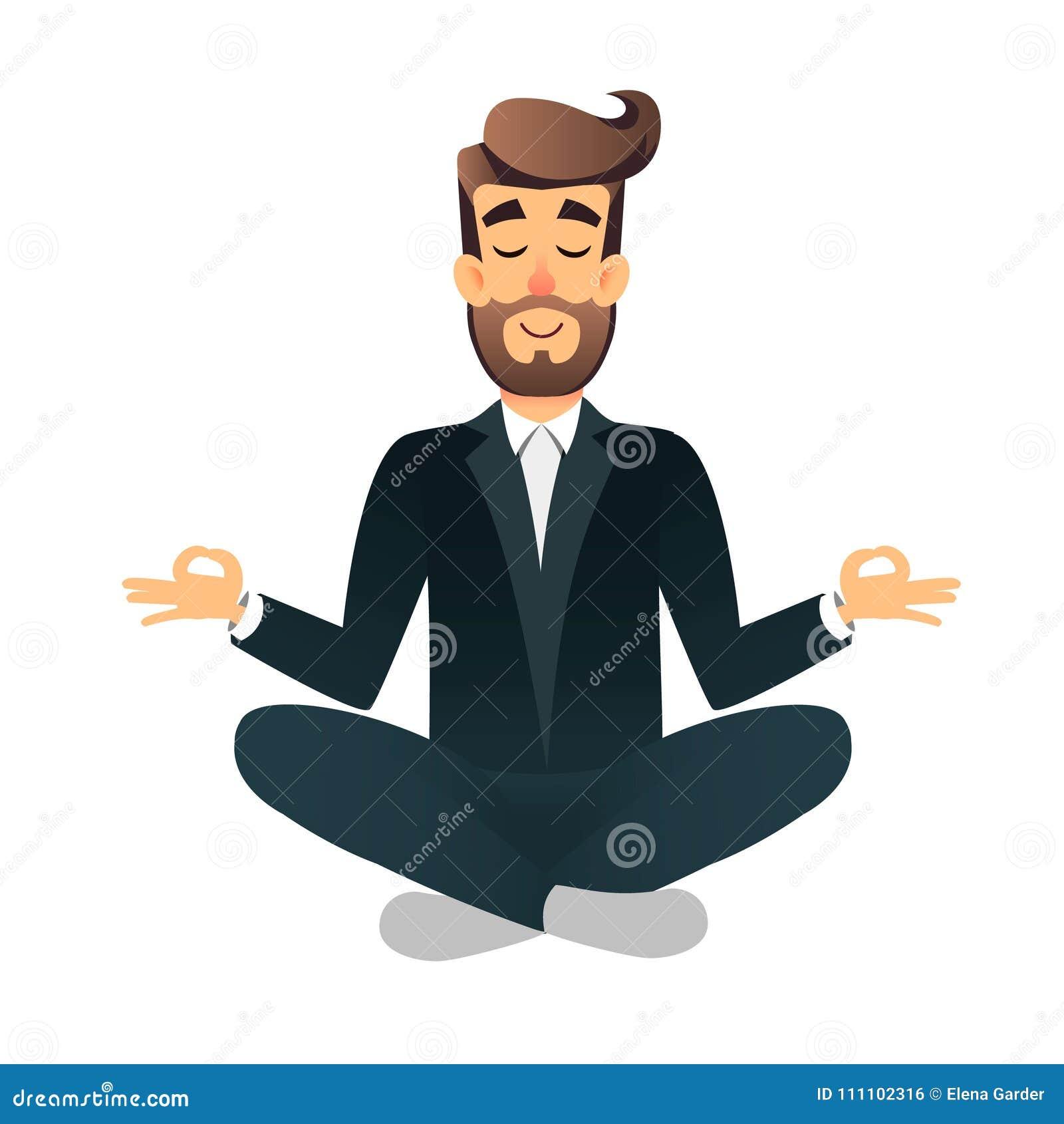 Assento e meditar felizes lisos do gestor de escritório dos desenhos animados Ilustração da calma relaxado do homem de negócios c