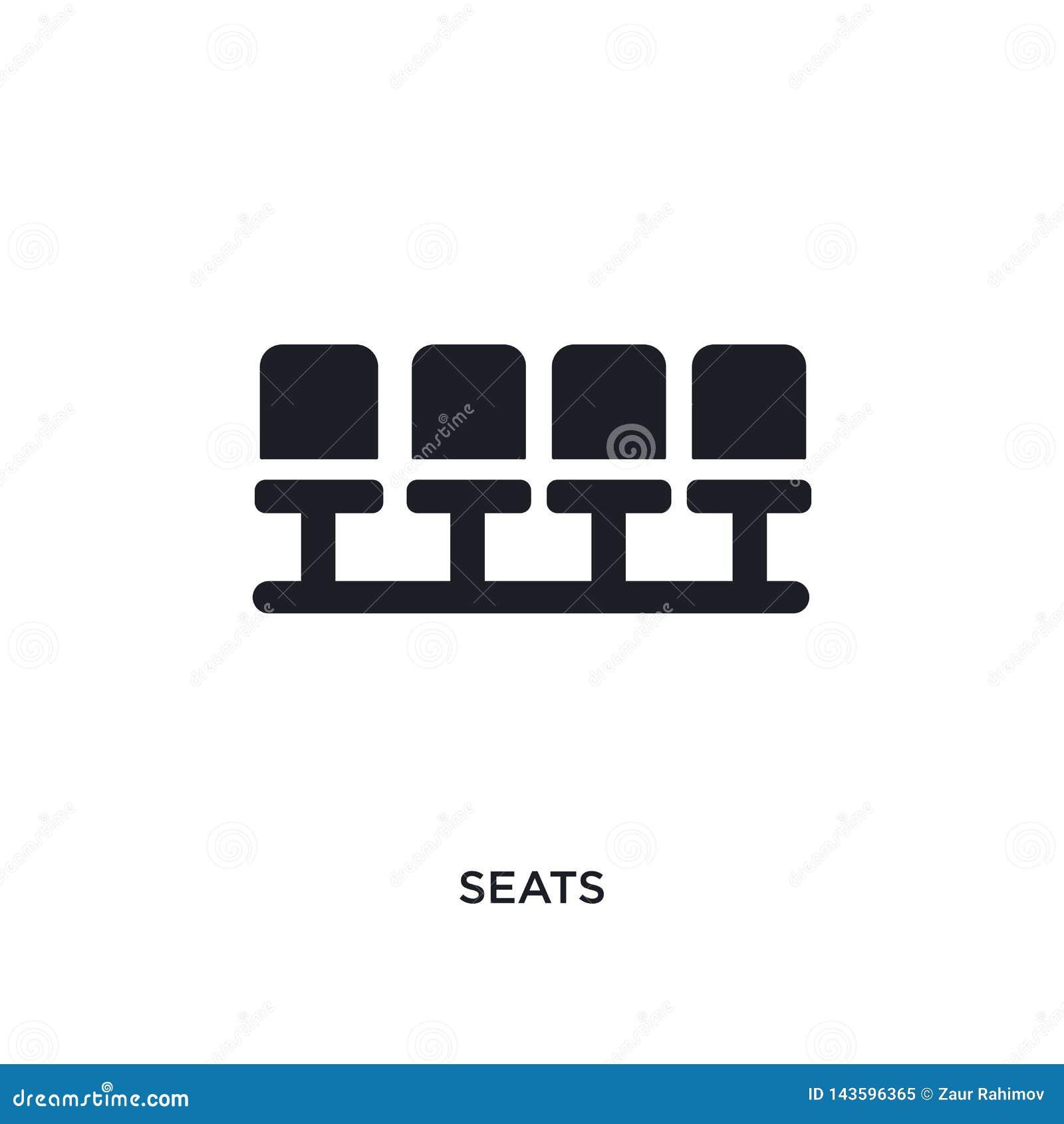 Assentos pretos ícone isolado do vetor ilustração simples do elemento dos ícones do vetor do conceito do futebol símbolo preto ed