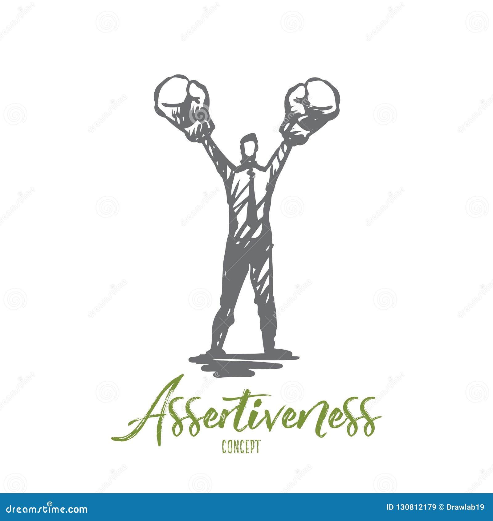 Assertiveness framgång, arbete, kompetens, motivationbegrepp Hand dragen isolerad vektor