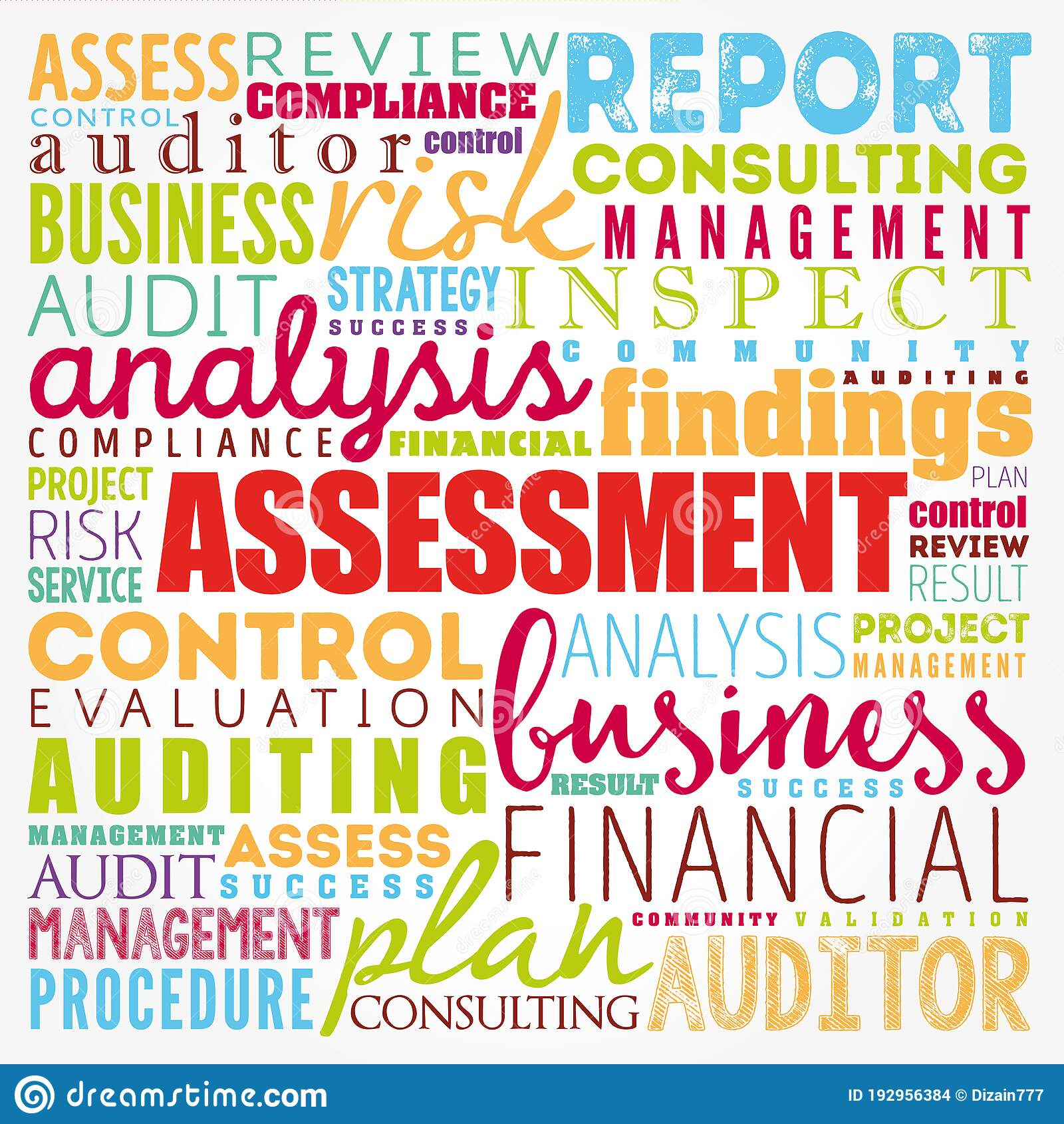 ASSESSMENT Word Cloud Collage, Business Concept Background ...