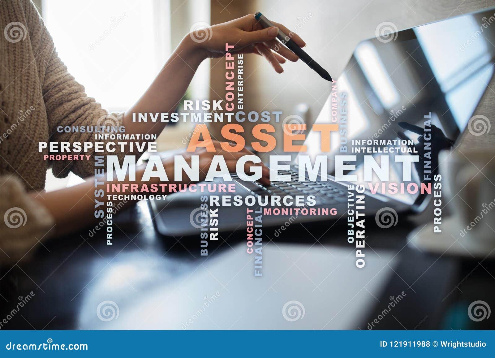 Asset management on the virtual screen. Business concept. Words cloud.