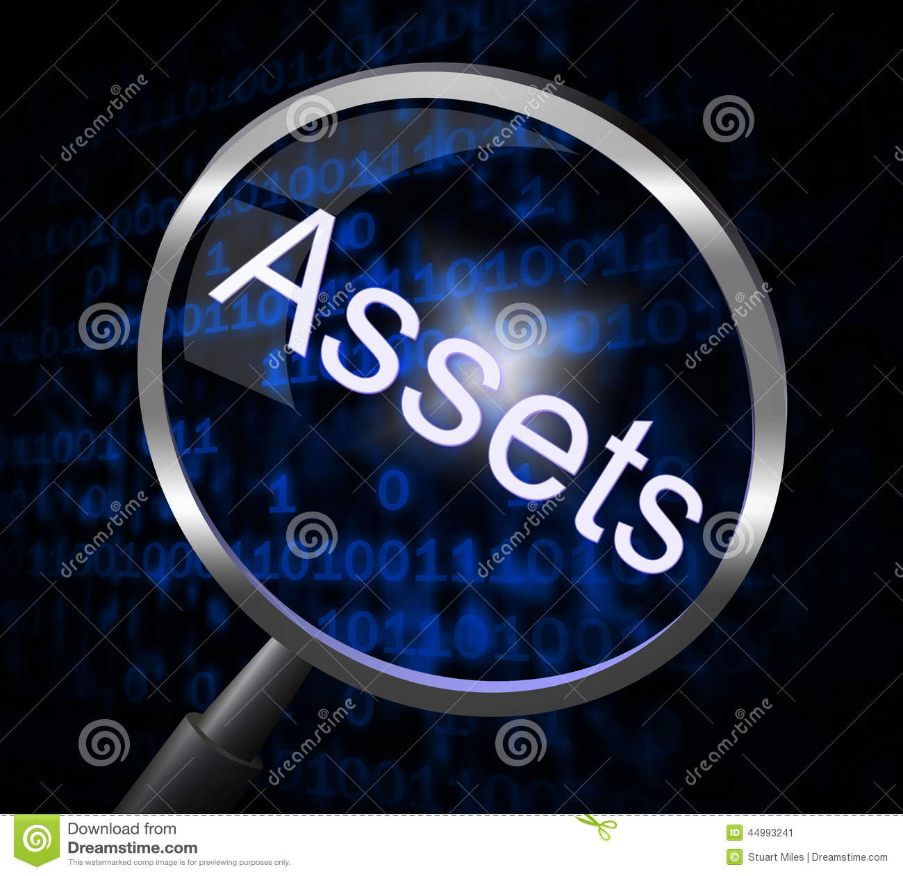 Assets Magnifier Indicates Valuables Searching And Search