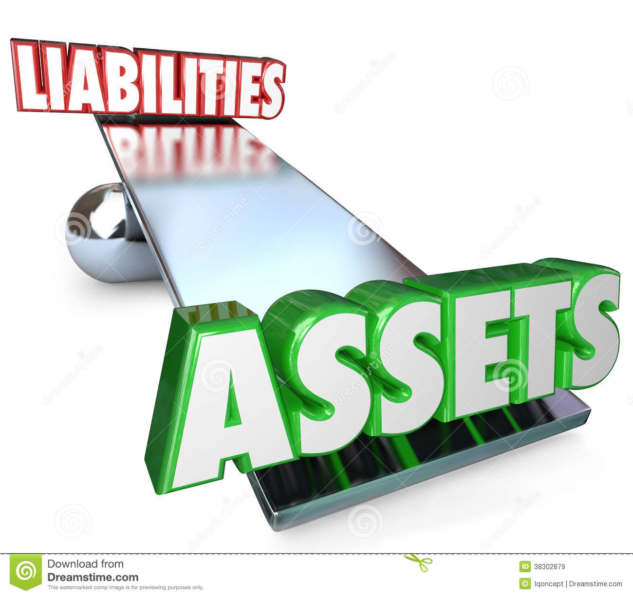 Assets and Liabilities on a see-saw, scale or balance to illustrate ...