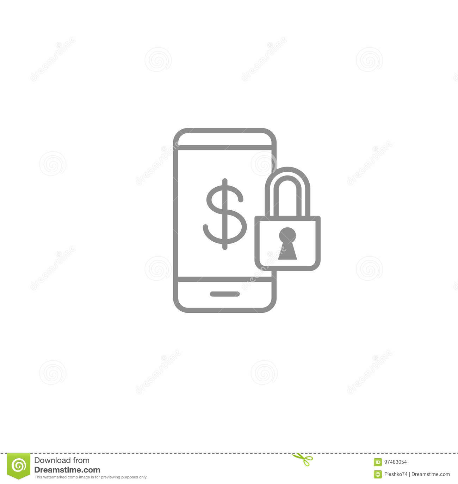 Assicuri la linea icona dello smartphone della banca mobile Illustrazione di vettore del segno di sicurezza del dispositivo mobil