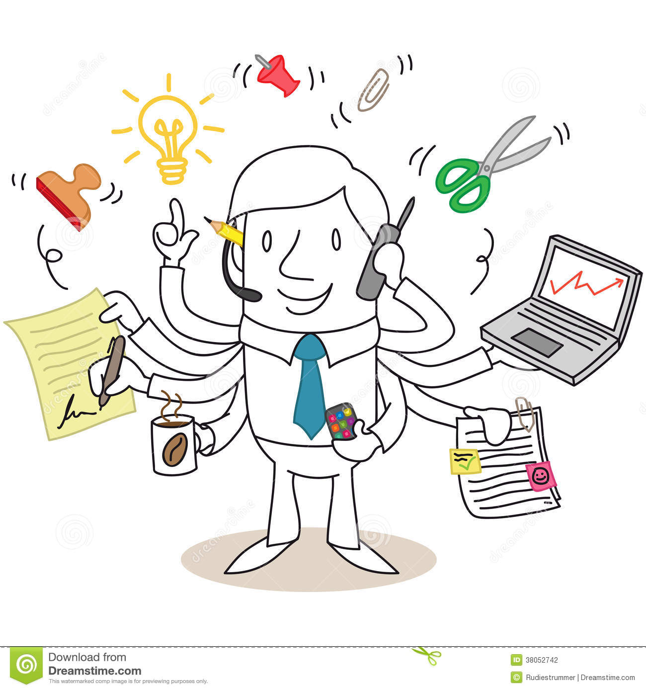 Assiduous Businessman Multitasking Stock Photography - Image: 38052742