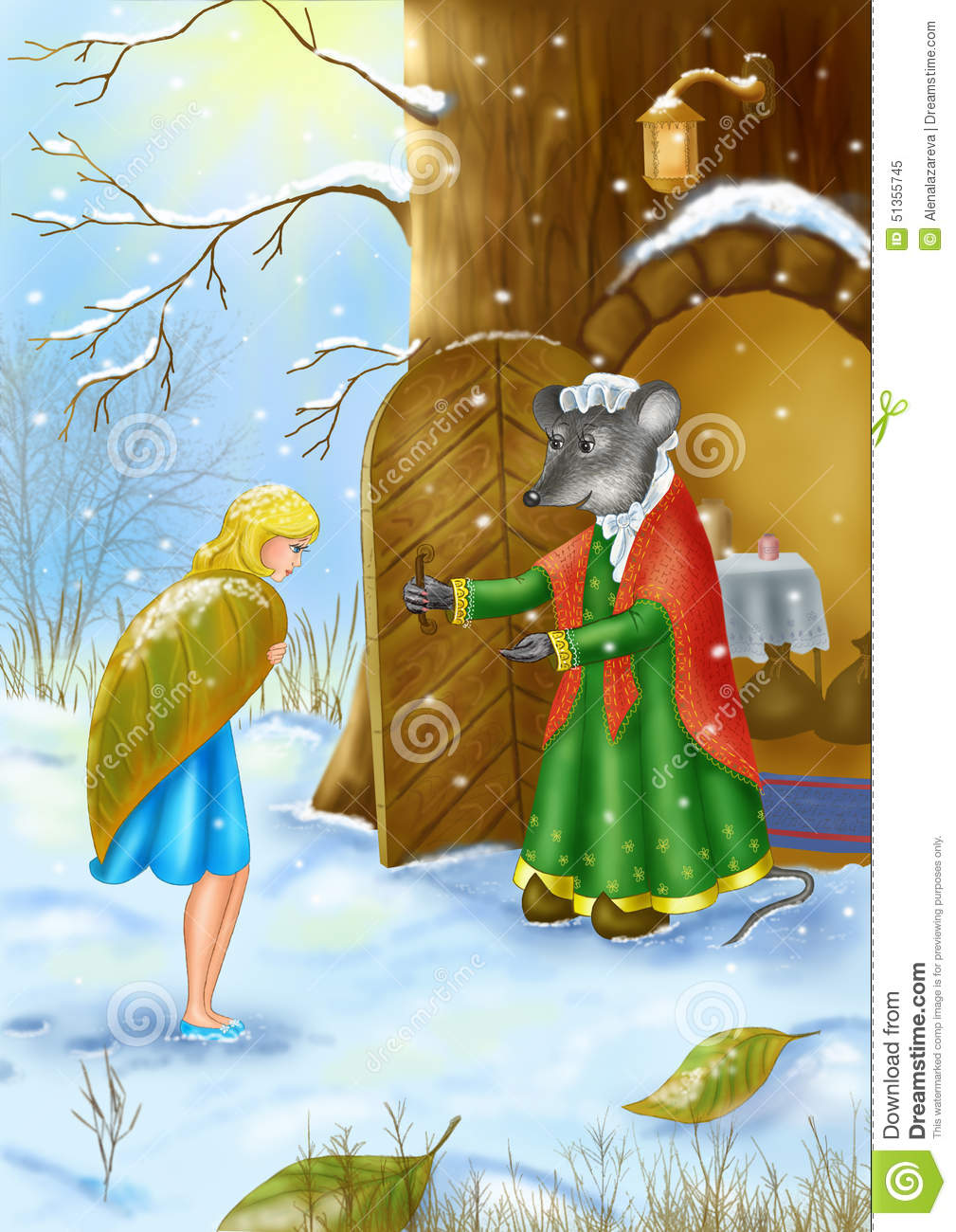 the mouse rescues thumbelina in the winter from cold winter