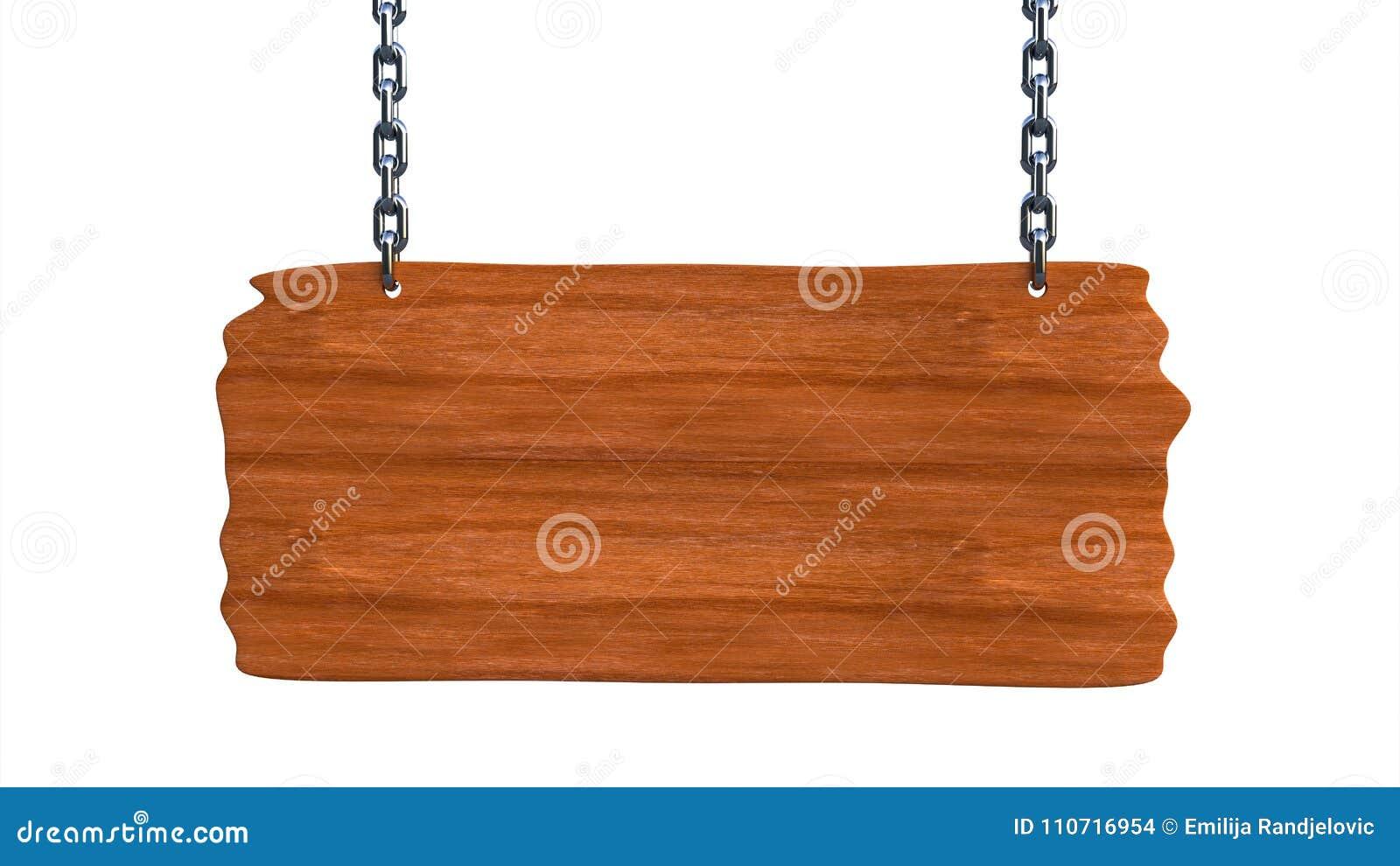 Assine a placa vazia de madeira que pendura em correntes e em espaço para o texto