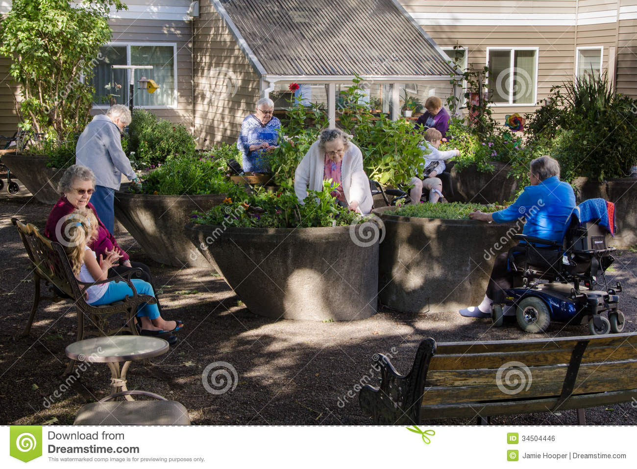 Gardening Group: Assisted Living Gardening Group Stock Photo