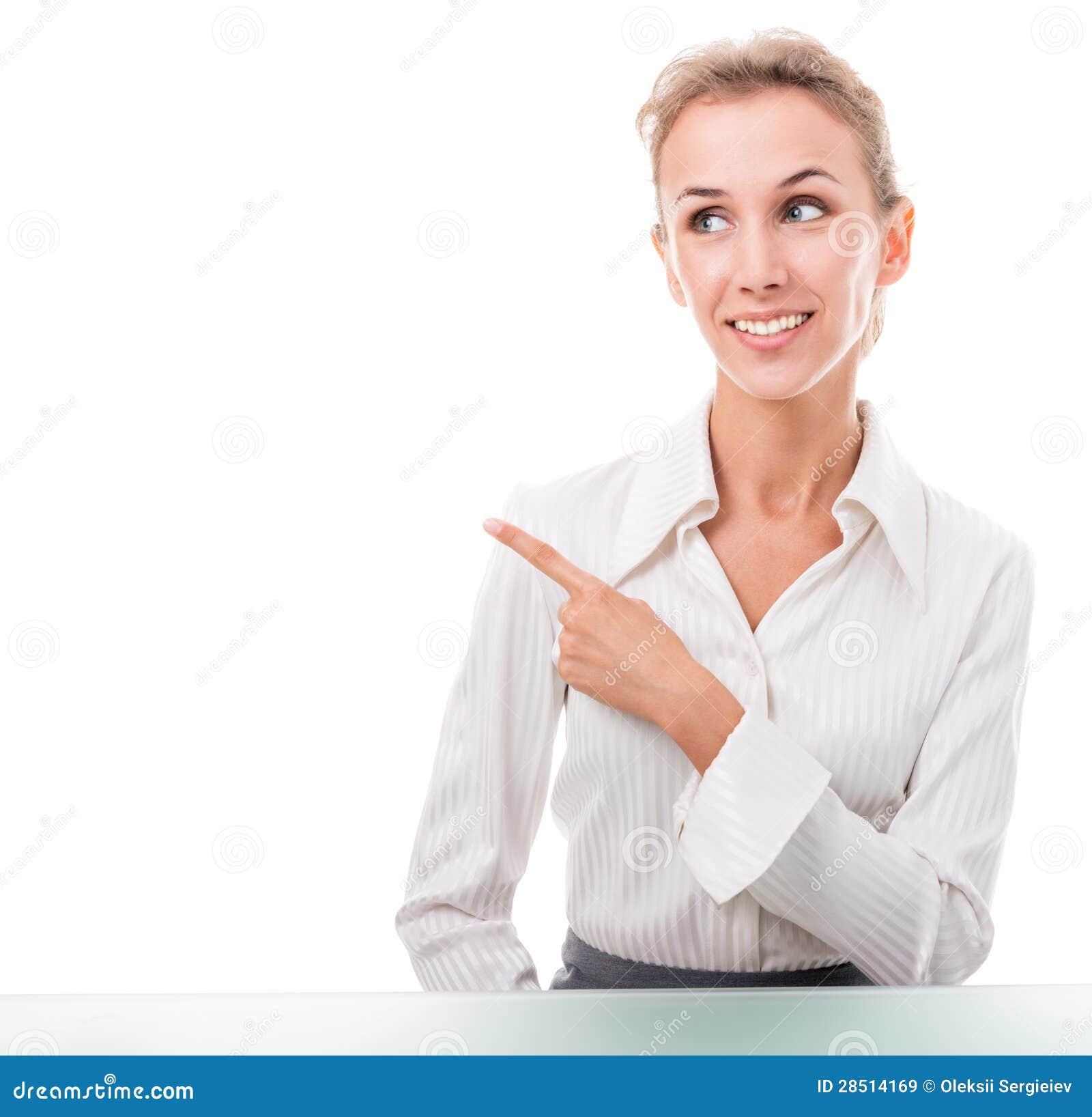 Assistente amministrativo amichevole che fa i gesti di mano