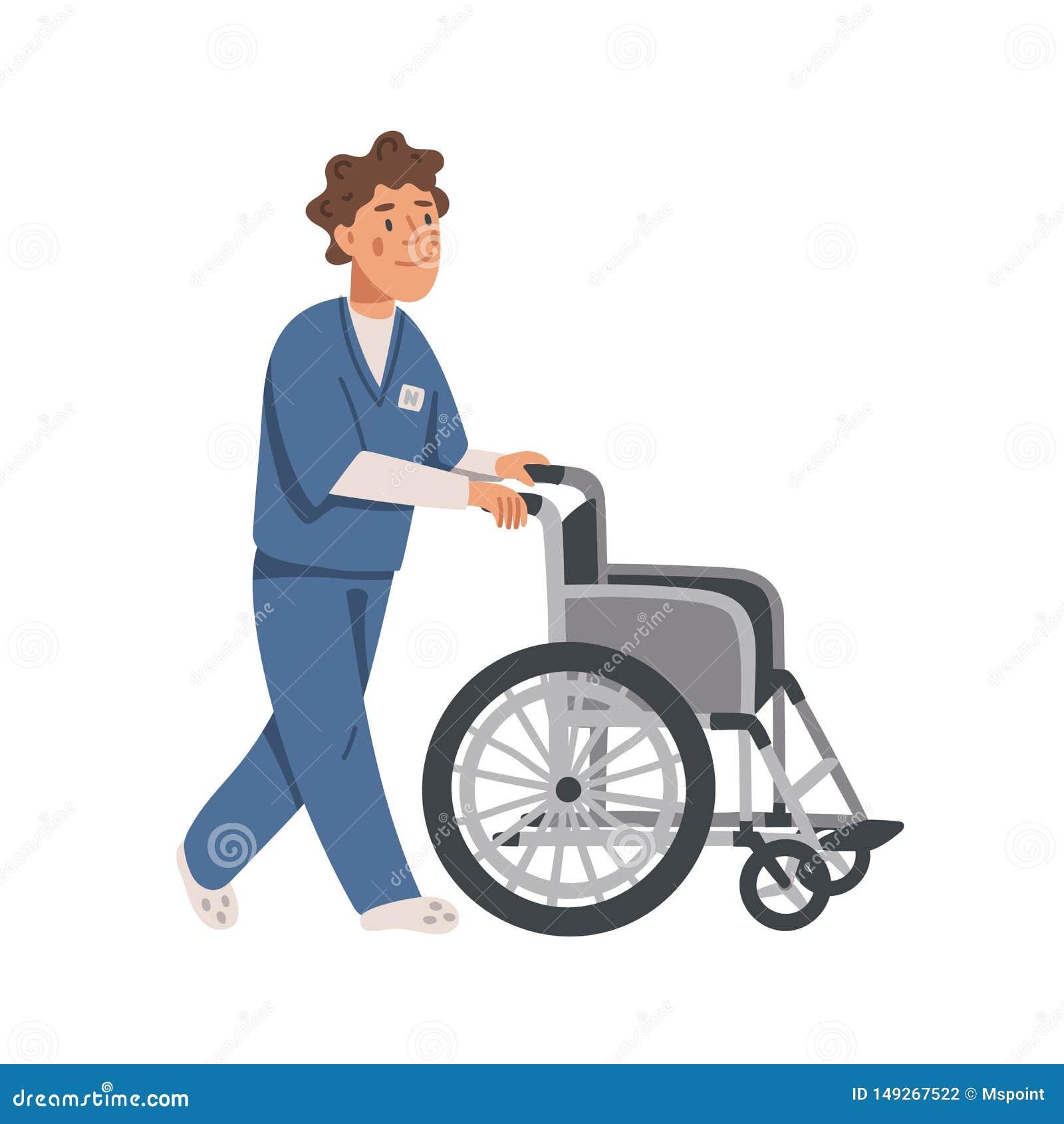 Assistente social ou enfermeira masculina que empurram a cadeira de rodas vazia Lar de idosos Ilustração lisa do vetor dos povos