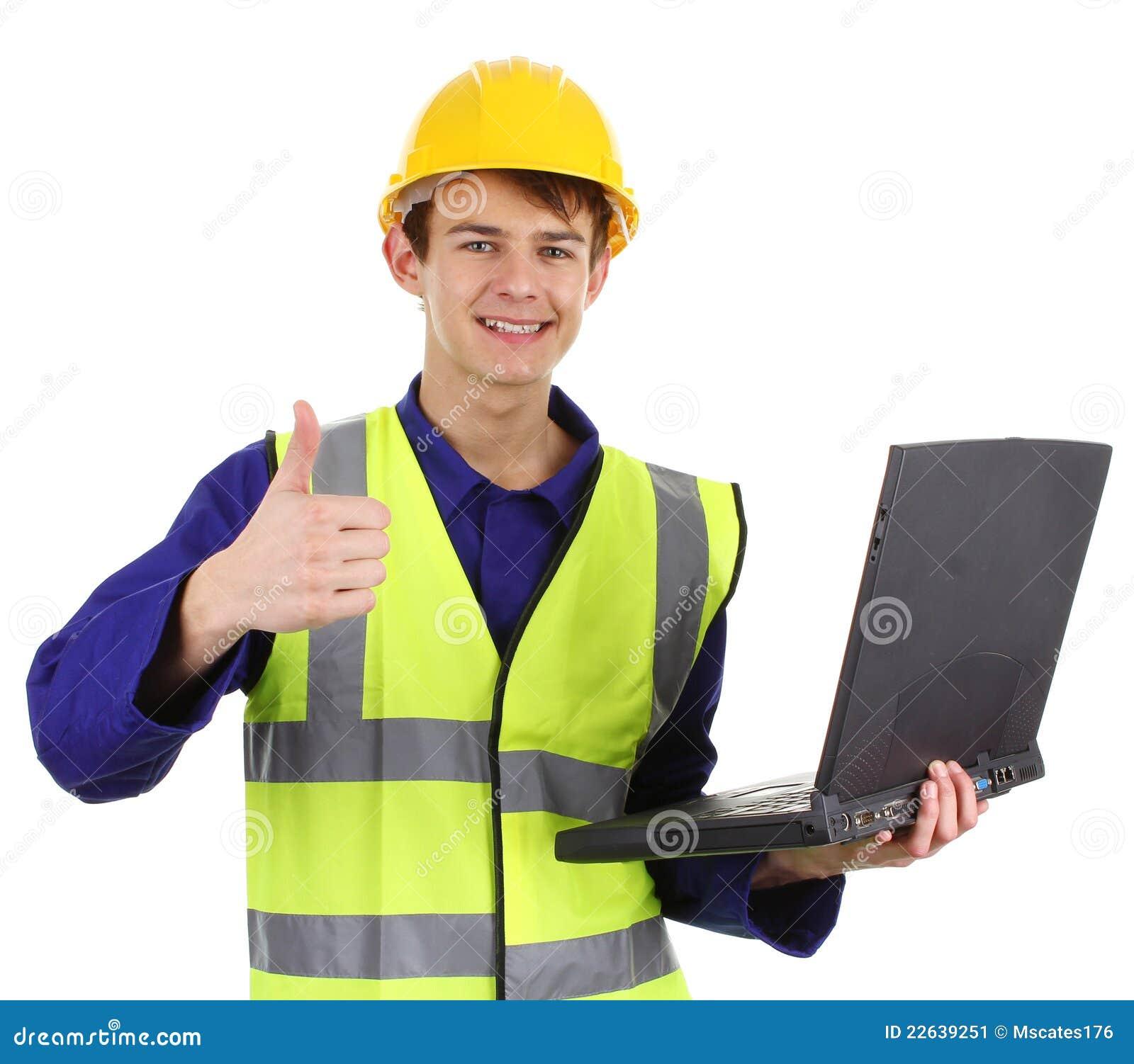 Assistente tecnico con un computer portatile