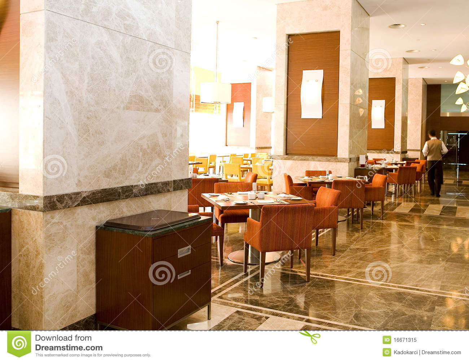 Assoalho de mármore do restaurante