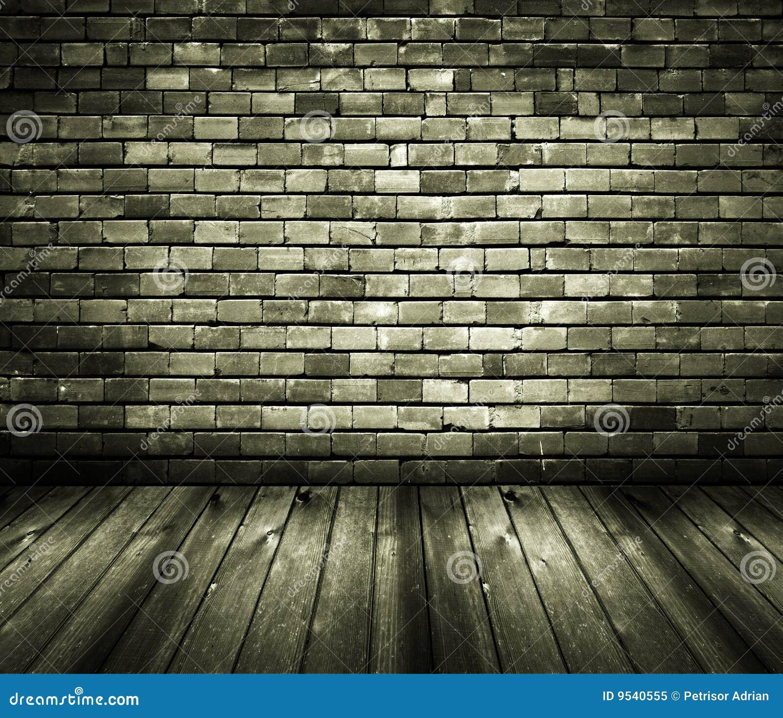 Assoalho de madeira interior da parede de tijolo da casa rústica
