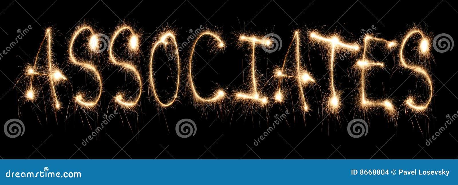 Associés de mot écrits le sparkler
