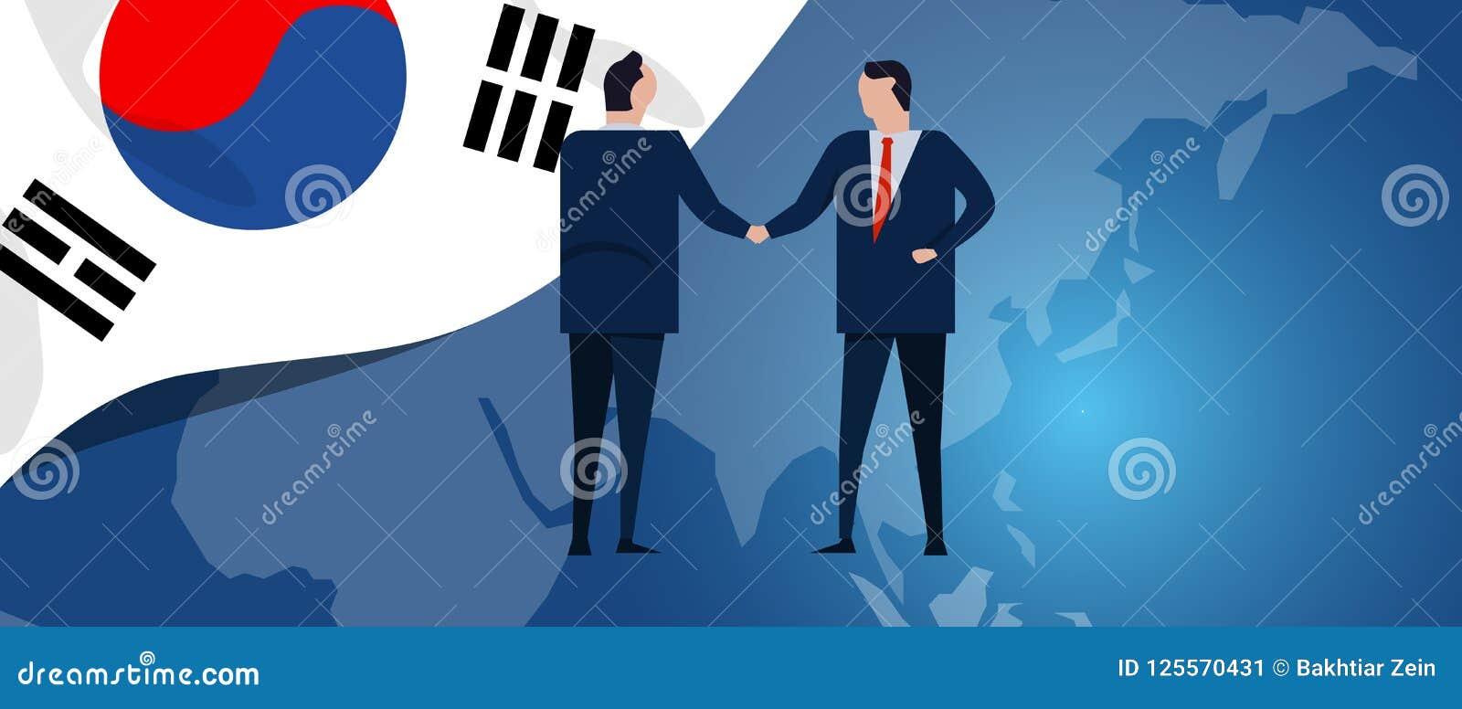 Association d international de la Corée du Sud Négociation de diplomatie Poignée de main d accord de relation d affaires Drapeau