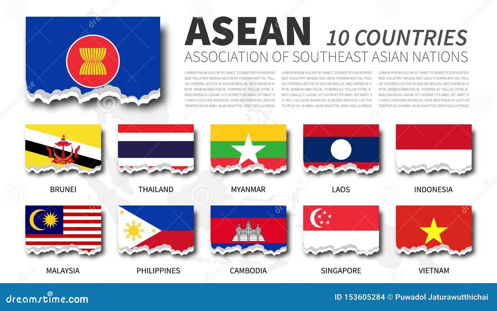 Association de drapeau d ASEAN des nations et de l adhésion asiatiques du sud-est sur le fond de carte d Asie du Sud-Est Concepti