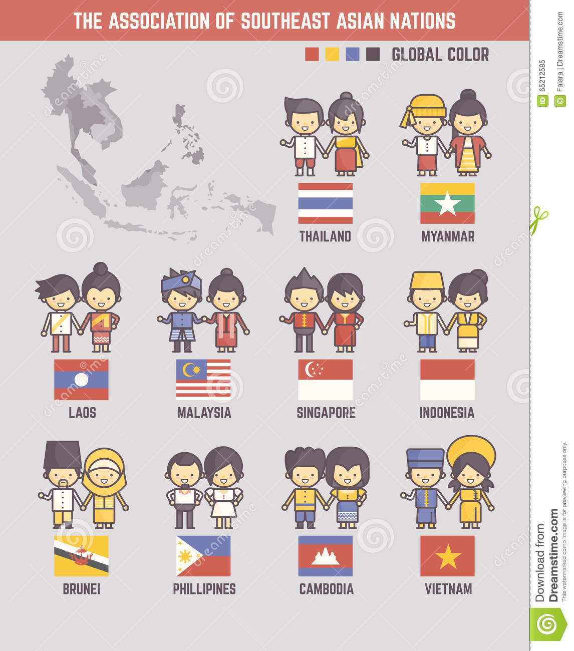 the association of southeast asian nations Photo about the association of southeast asian nations cartoon characters and flags illustration of culture, cooperation, nation - 65212585.