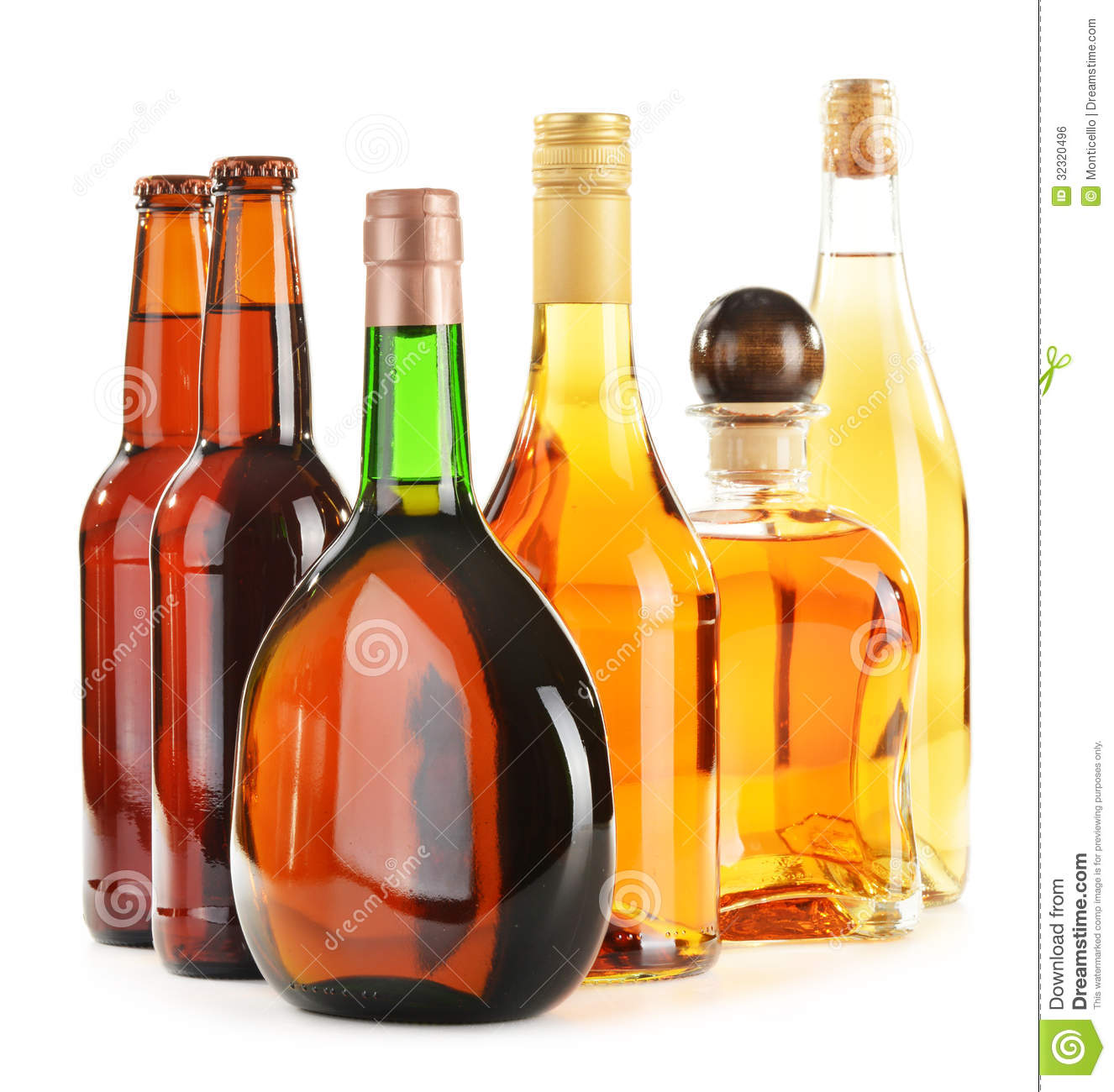 Assorted Alcoholic Beverages On White Stock Photo