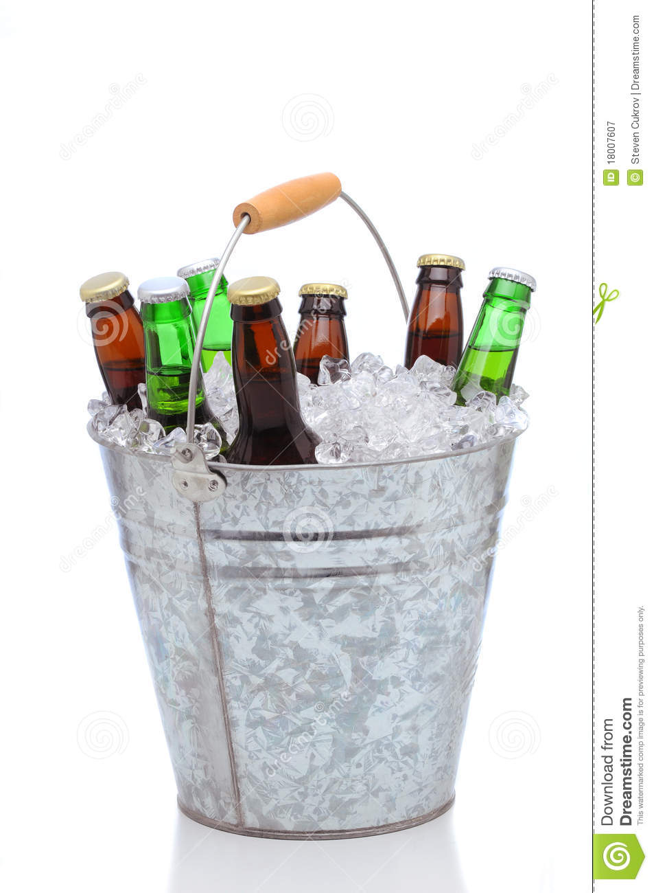 Assorted Beer Bottles In A Bucket Of Ice Stock Image