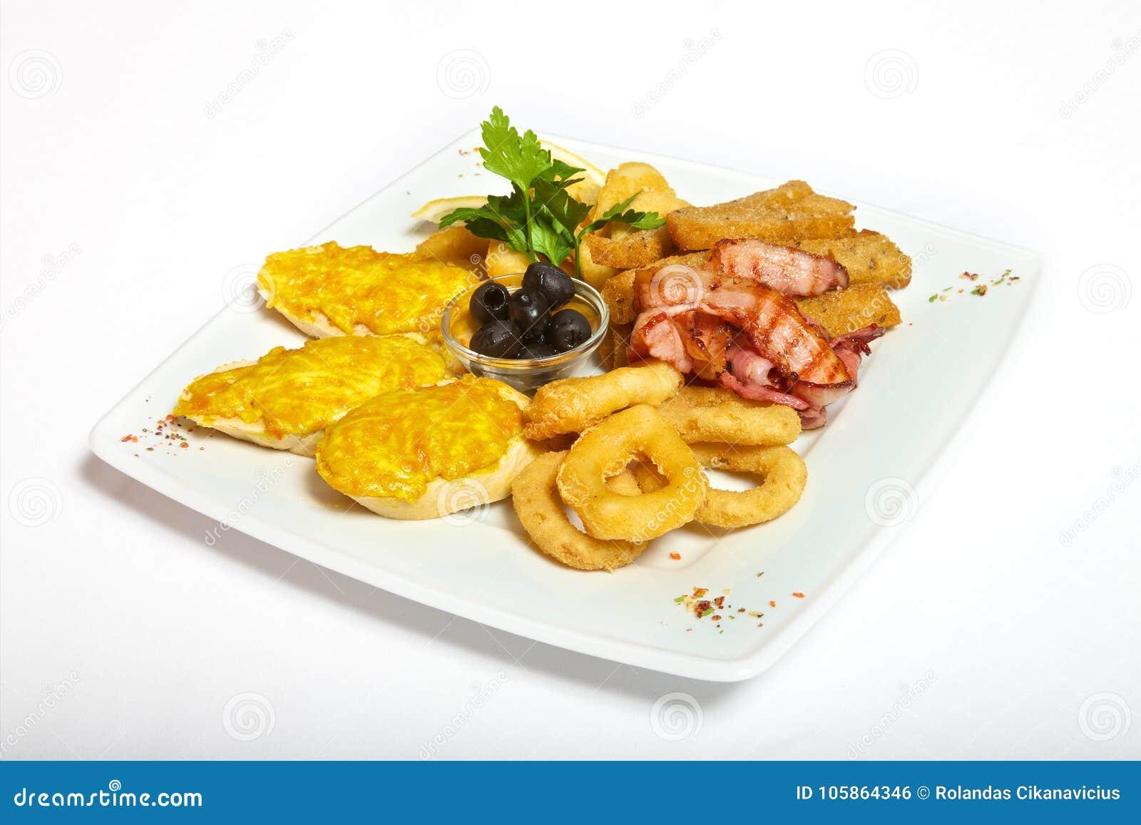 Assorted beer snacks on plate