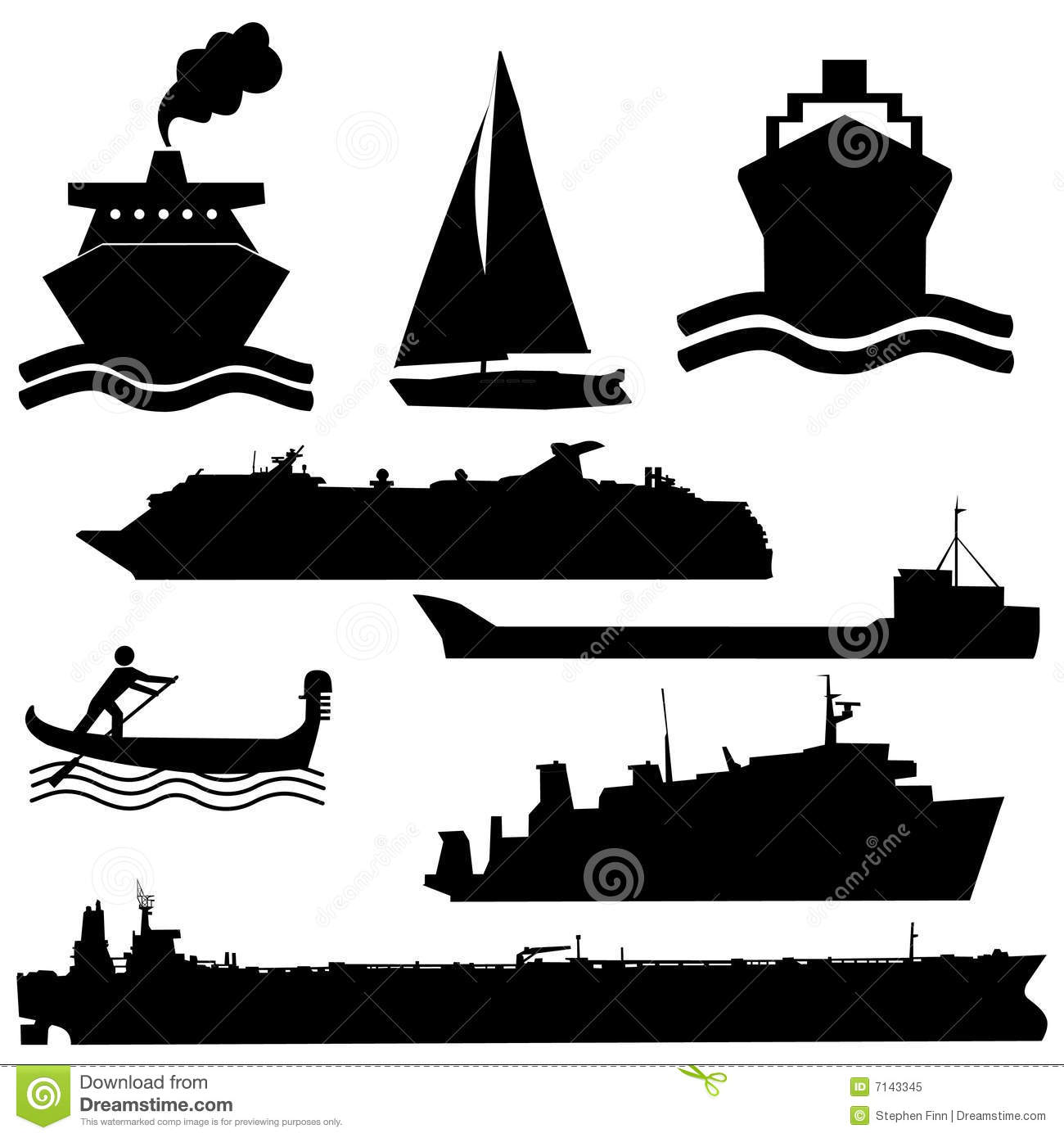 Assorted Boat Silhouettes Royalty Free Stock Photo Image