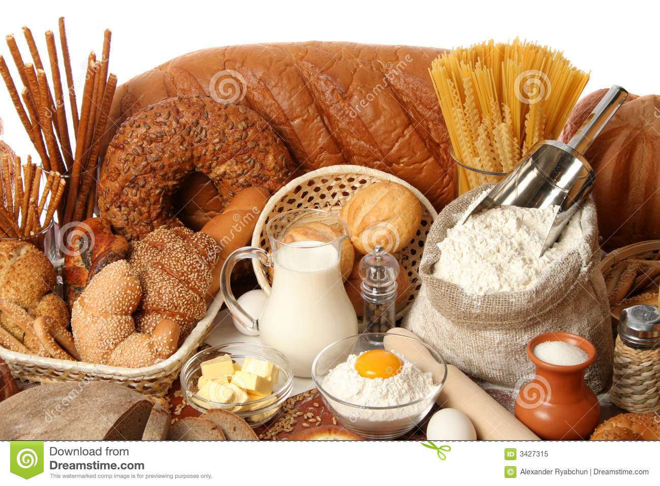 Assorted bread and ingredients