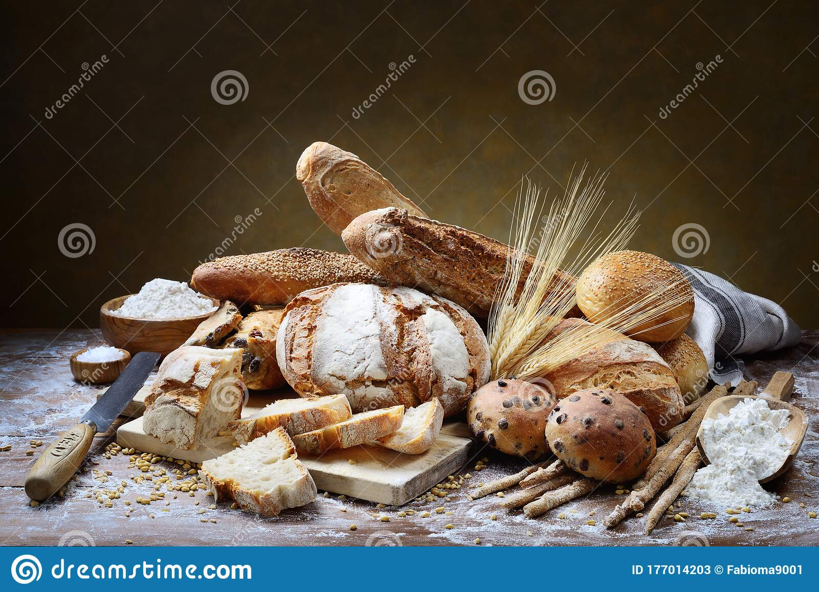 Assorted Bread On Wooden Pastry Board Stock Image Image Of Italian Organic 177014203