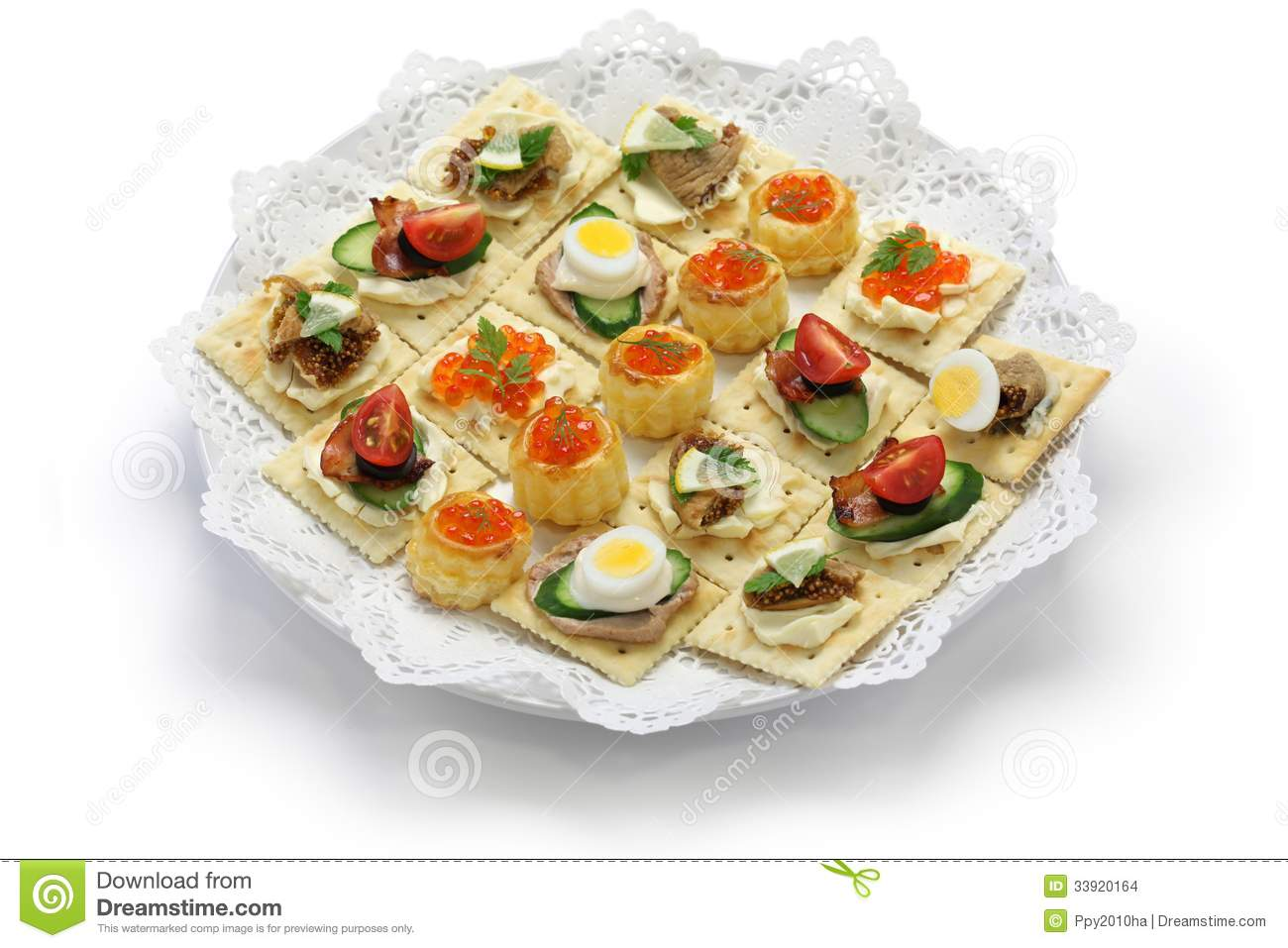 Assorted canape stock images image 33920164 for Canape party menu