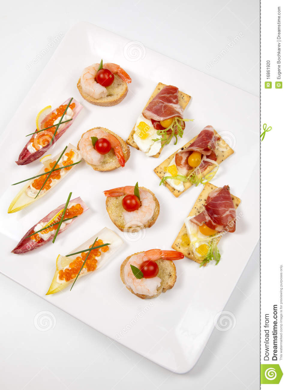 assorted canapes on tray stock photo image of delicious 16861920. Black Bedroom Furniture Sets. Home Design Ideas