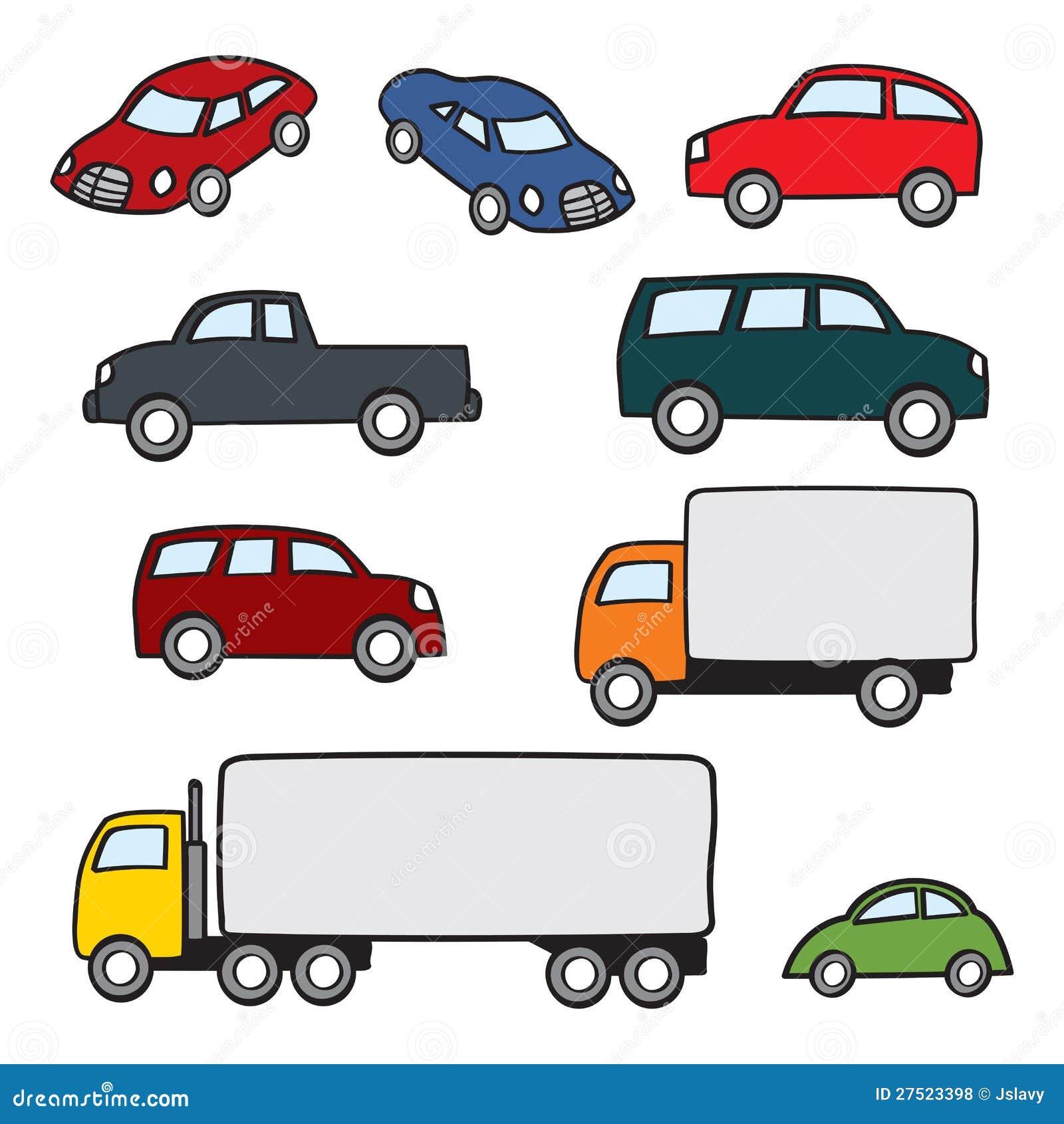 Assorted Cartoon Vehicles Stock Vector. Illustration Of