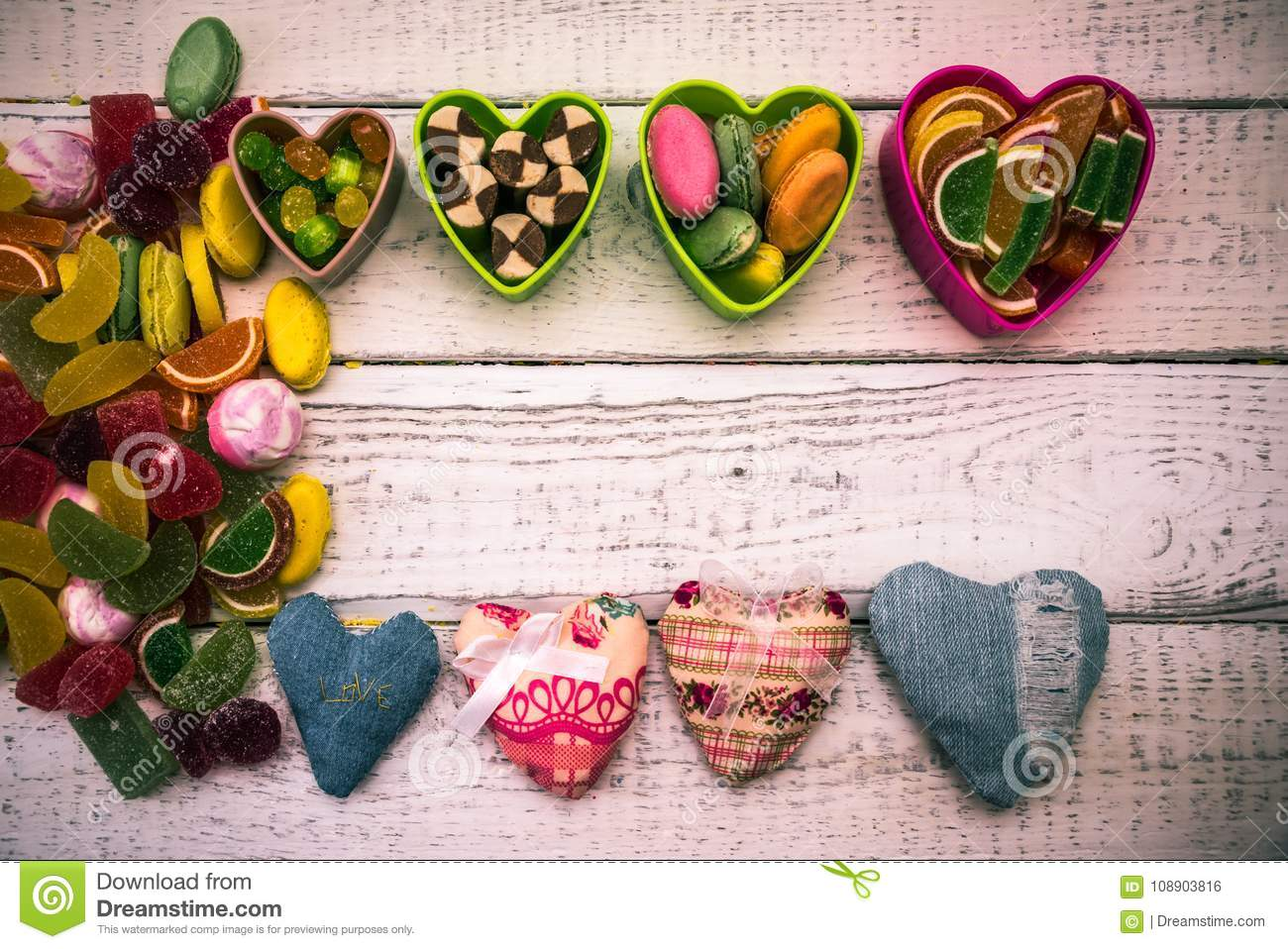 Frame Of Candy Hearts Greeting Cards Stock Photo Image Of